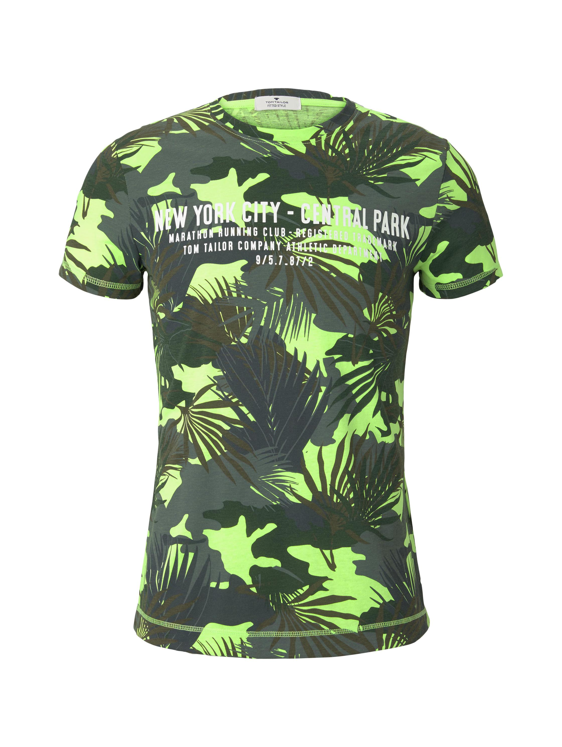 allover printed t-shirt, green leaf design