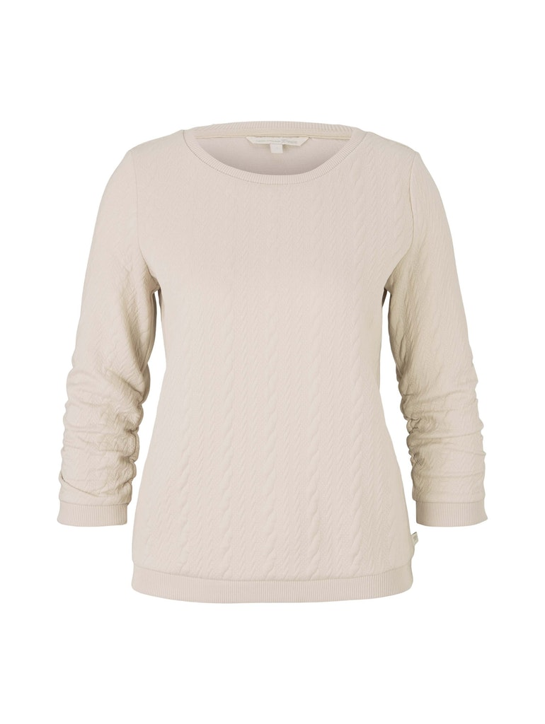 cable structured basic sweat, cold beige