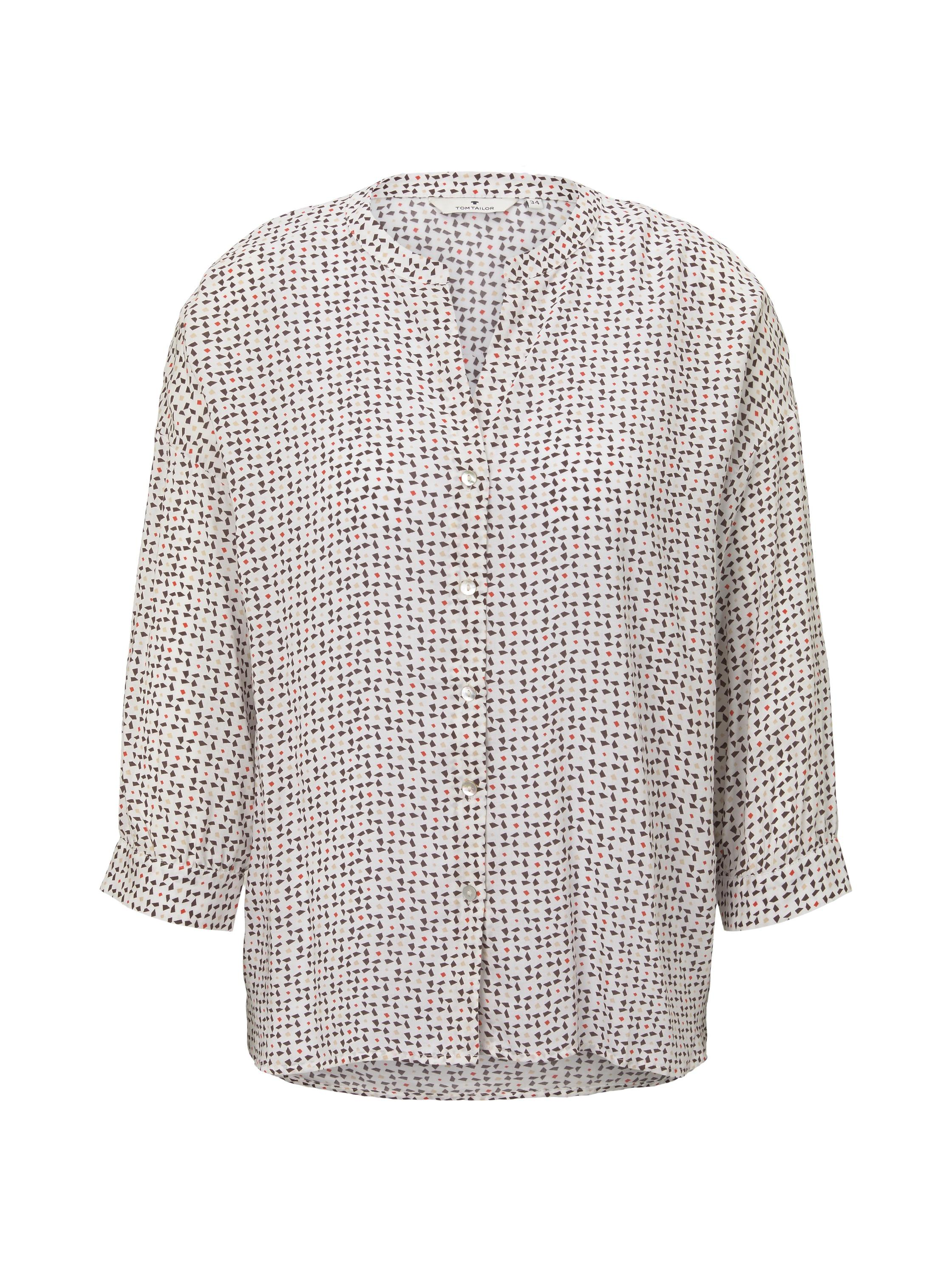 blouse printed loose shape, white geometric design