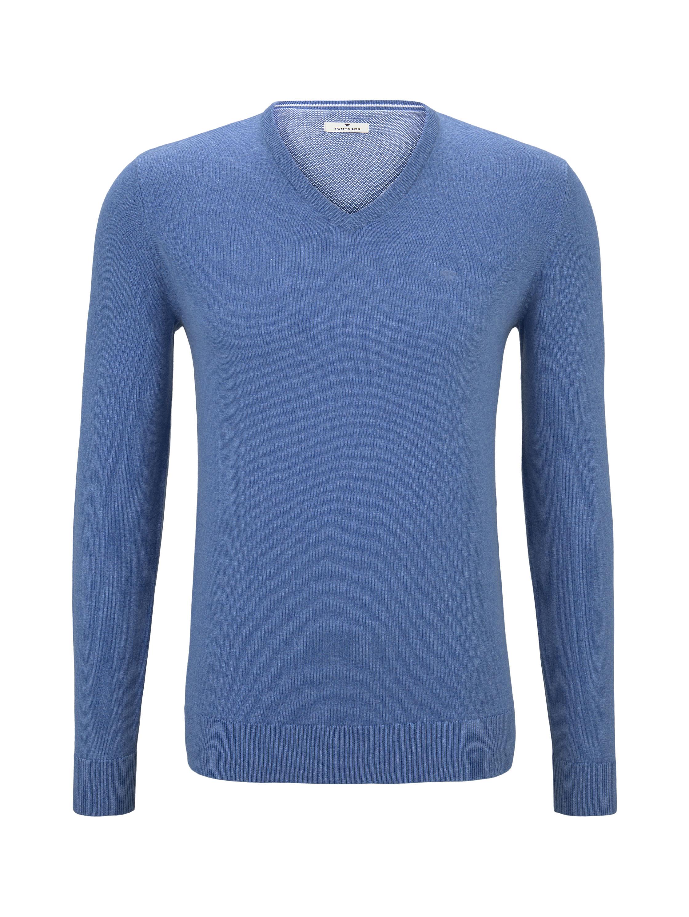 basic v neck sweater, mid blue melange              Blue