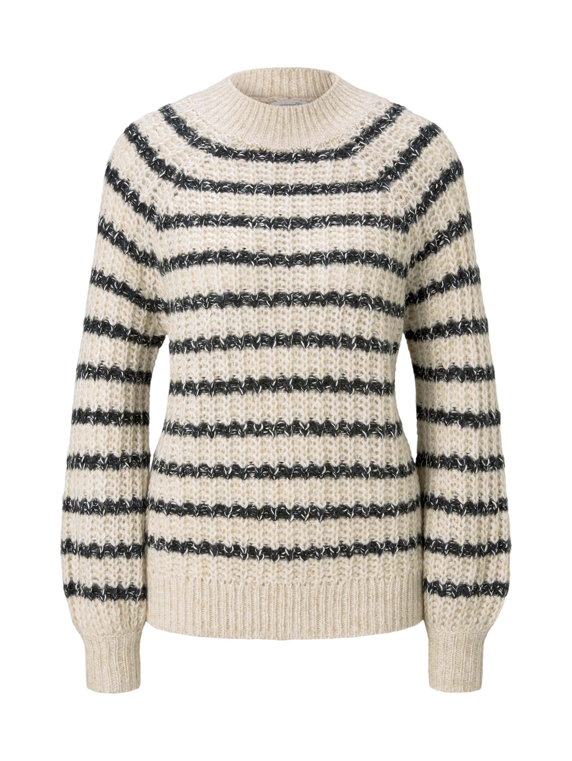 chunky stripe pullover, big creme navy stripe