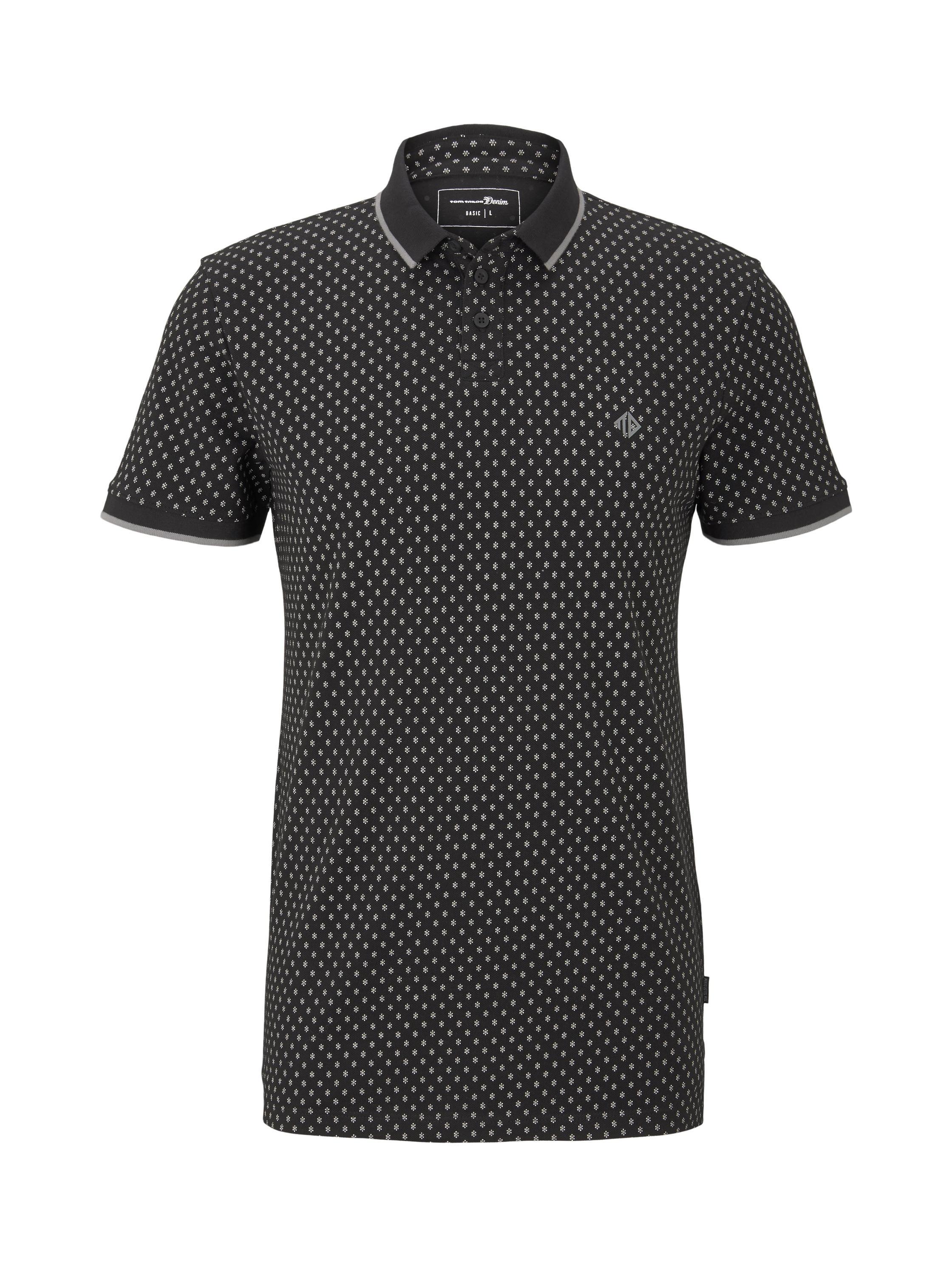 alloverprinted polo, black small diamond dot print