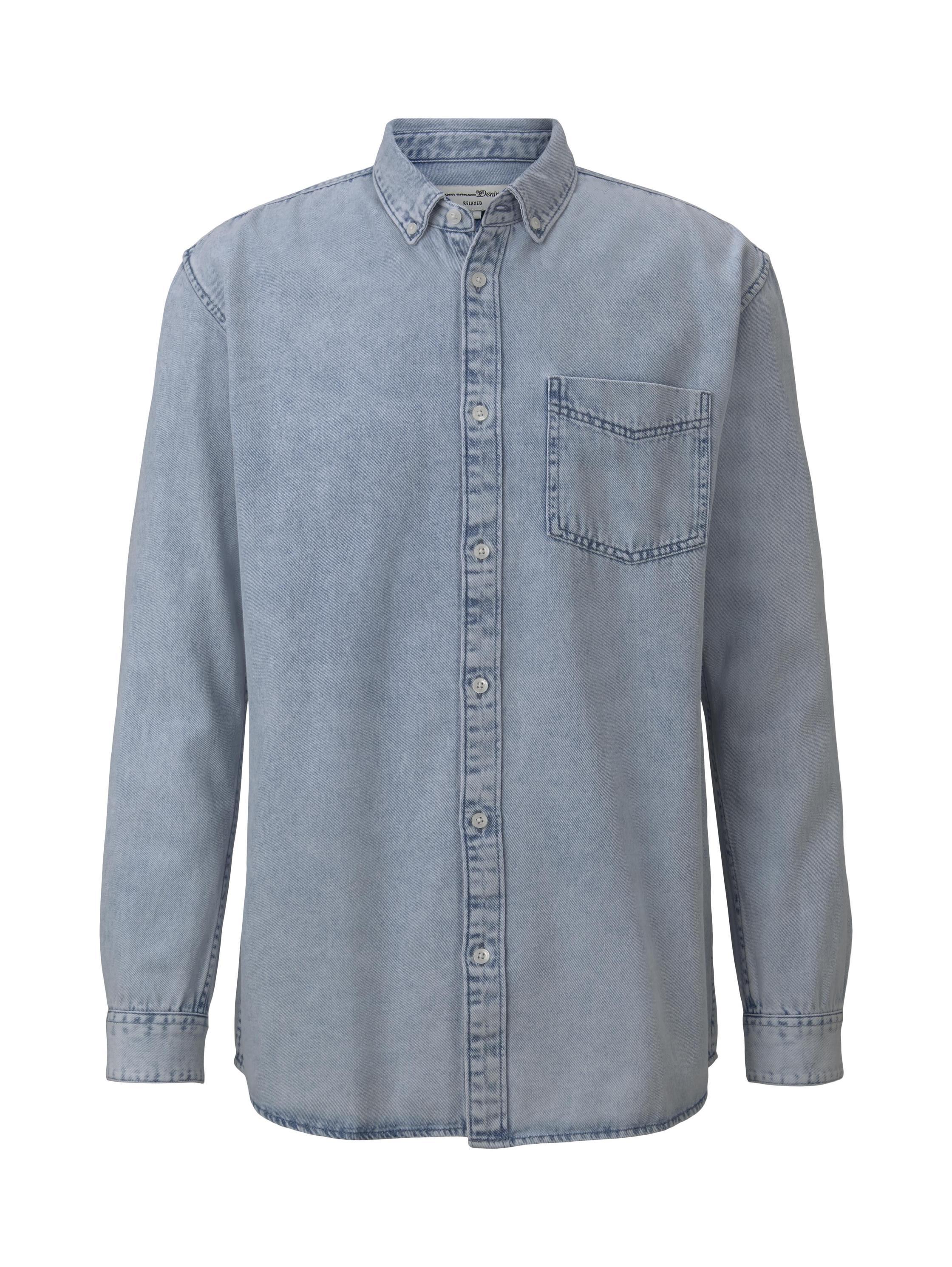 denim shirt, Heavy Bleached Blue Denim