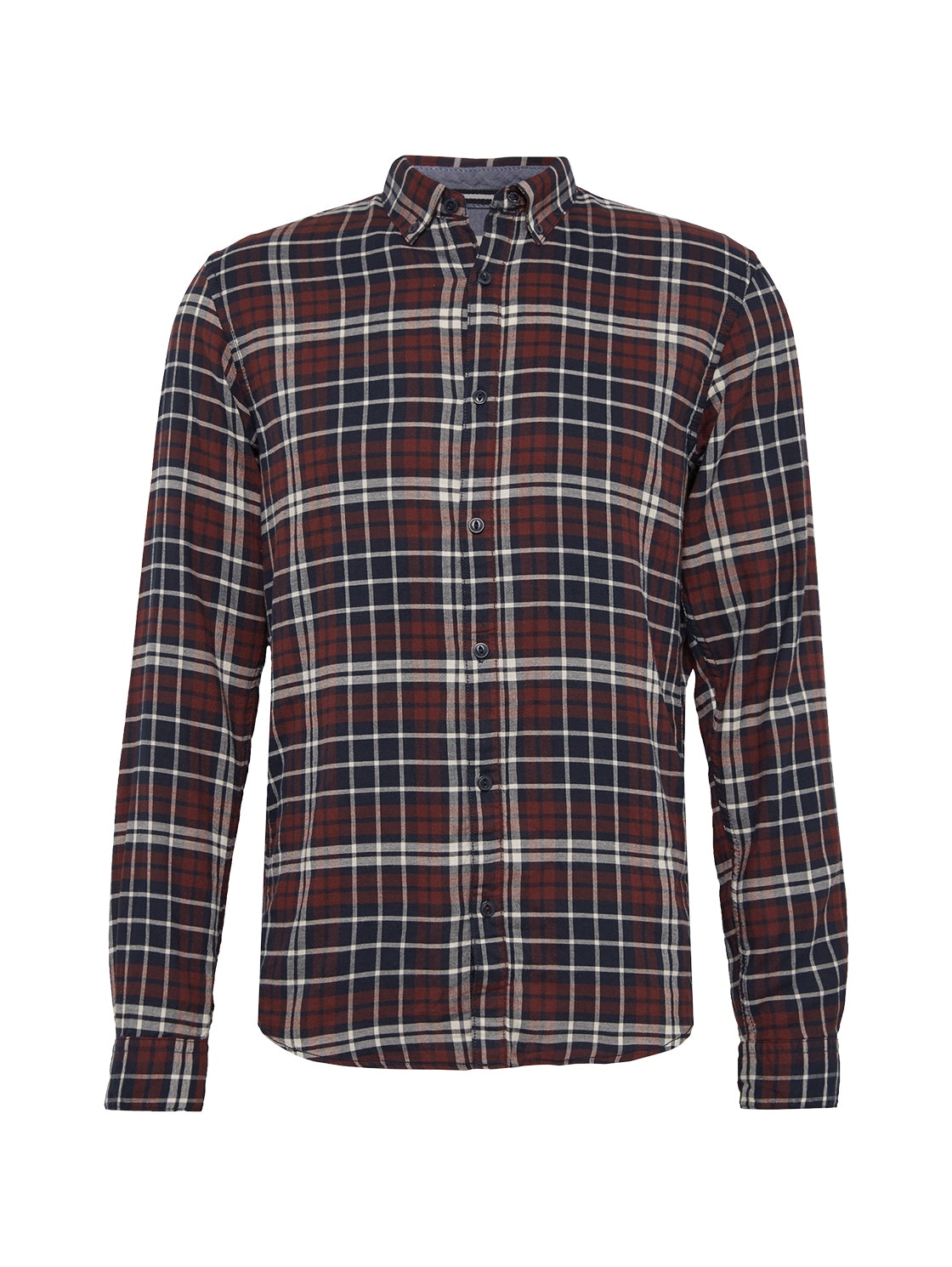college check shirt, burgundy college check        Red