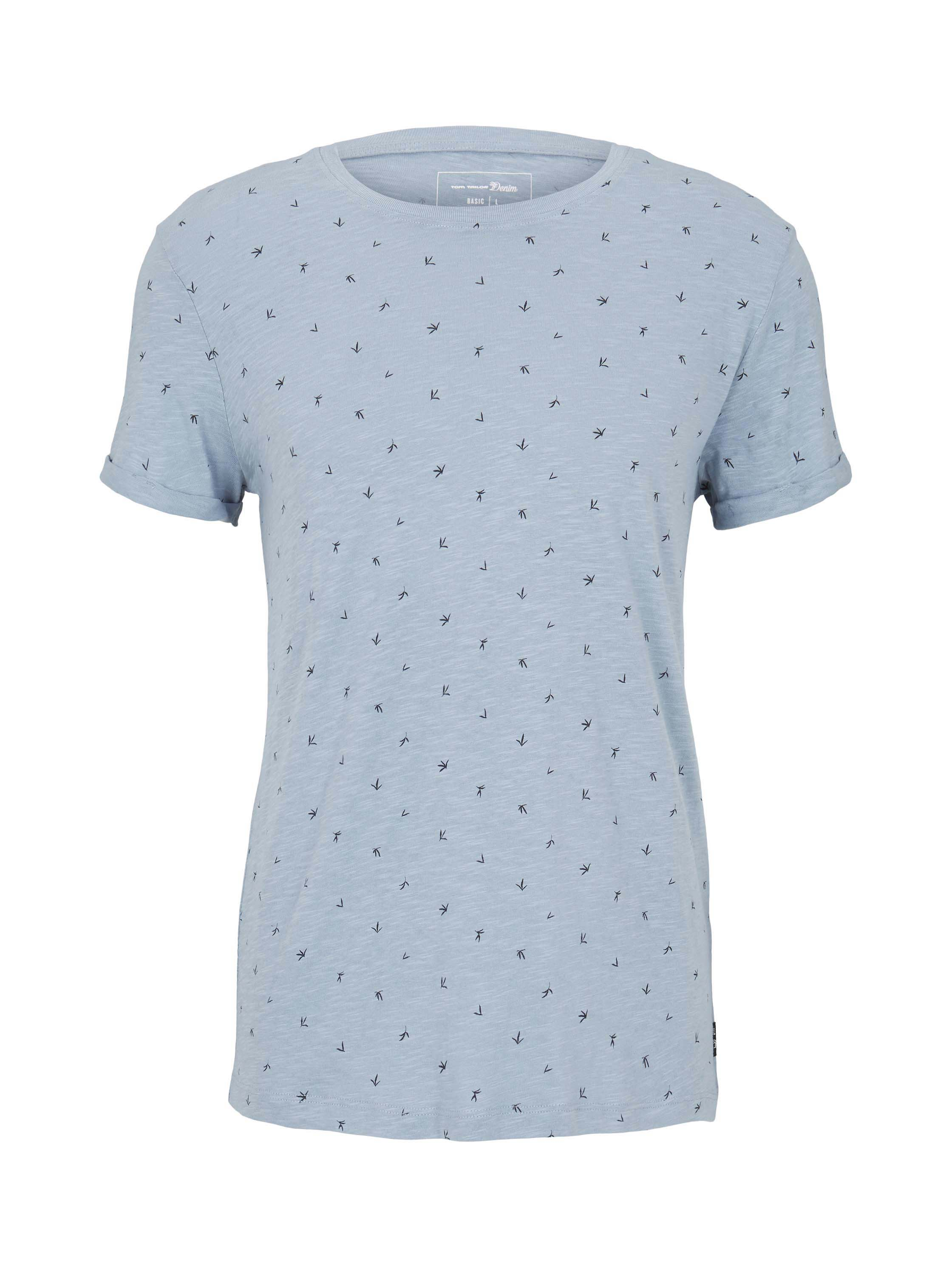 alloverprinted T-shirt, blue organic leaf print