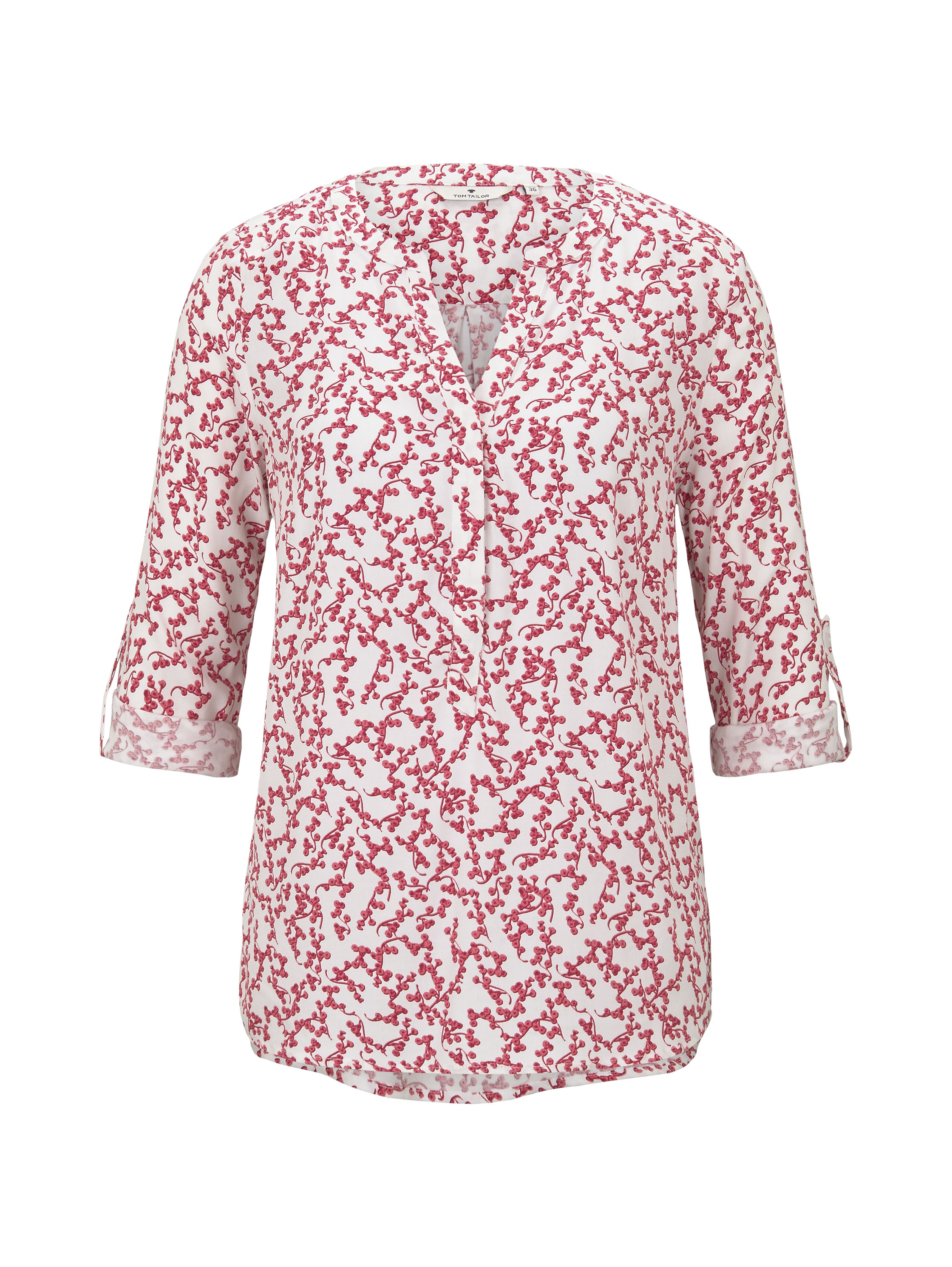 blouse longsleeve printed, pink flowery design           Purpl