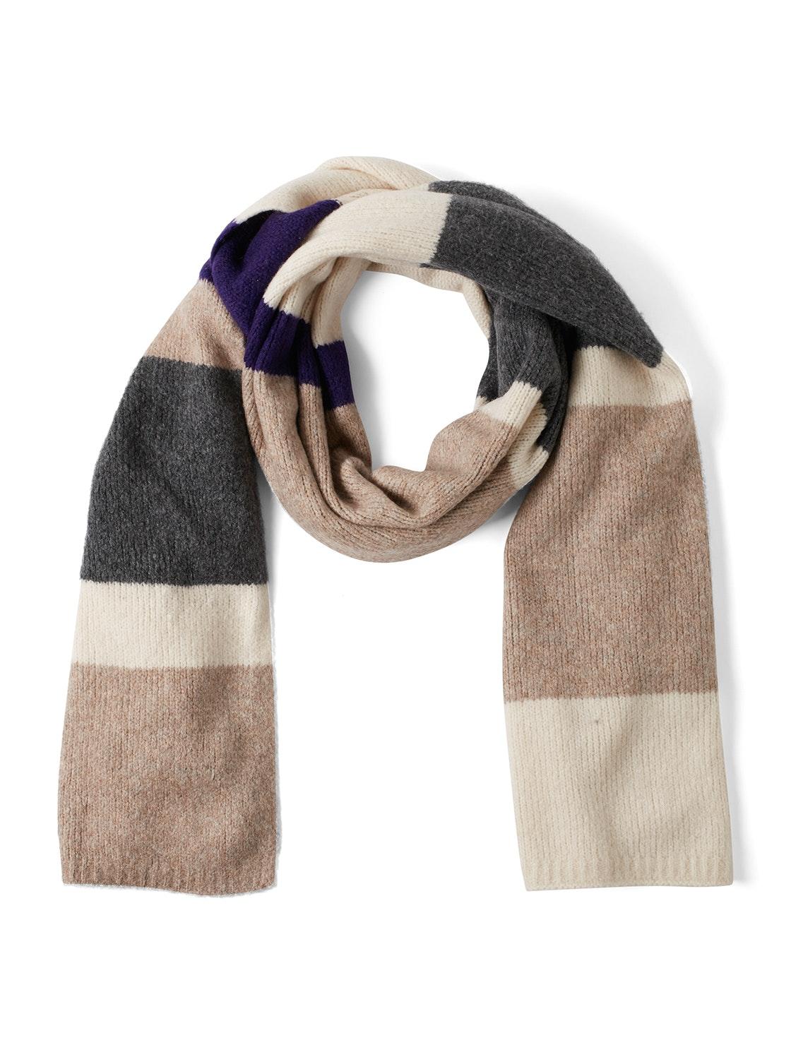 cozy striped scarf, Bleached Sand Beige Melange   Brown