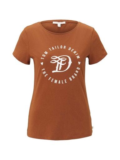 basic jersey print tee, amber brown