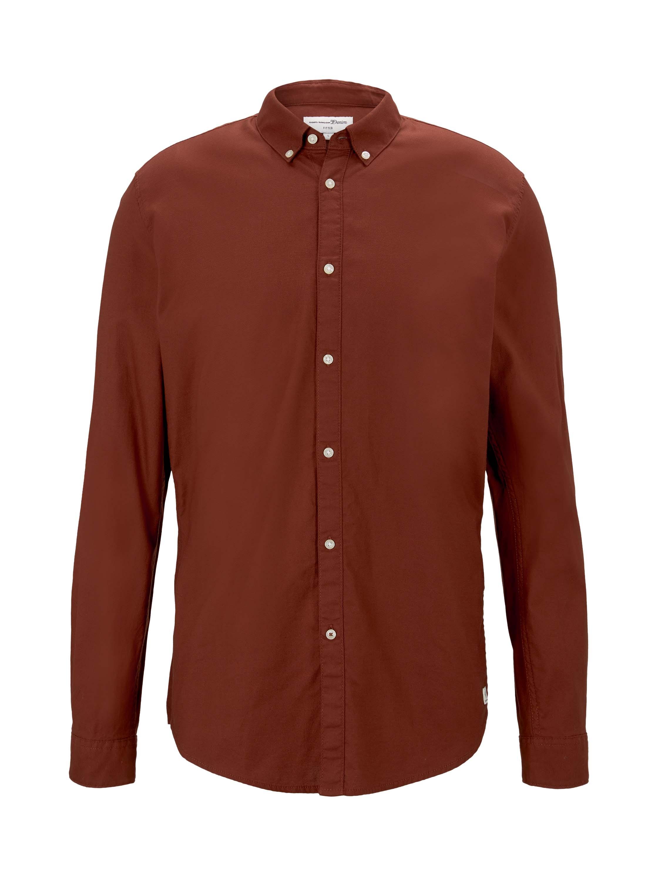 button down collar pique shirt, ochre red