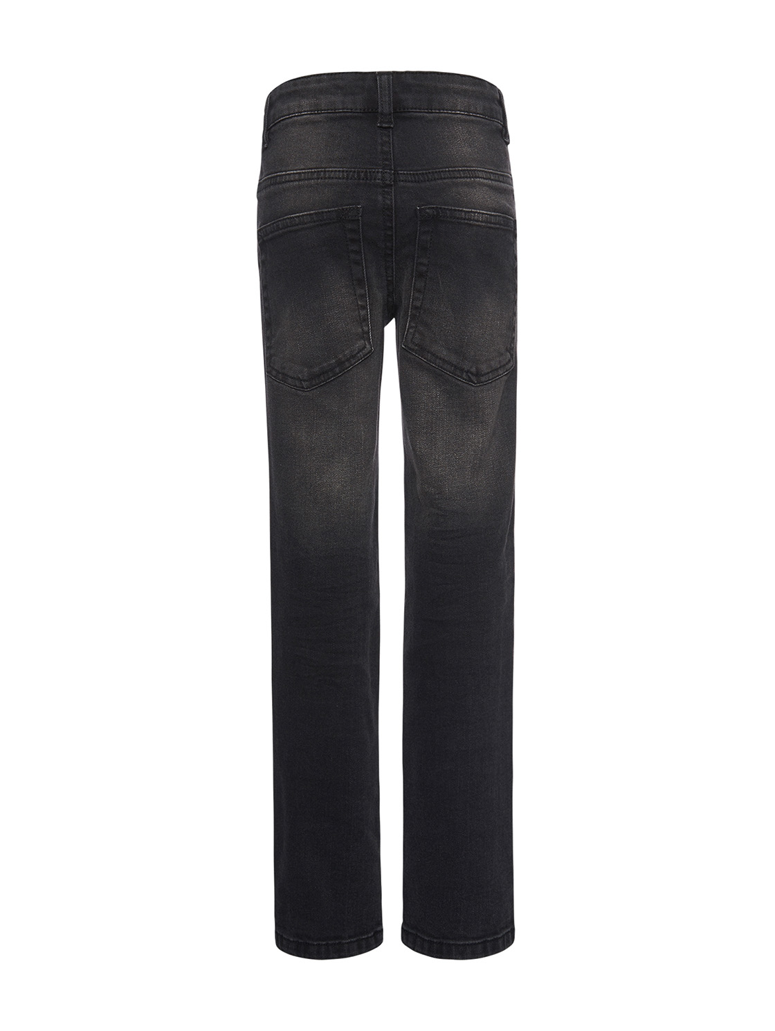 Jeans uni long, rinsed black denim