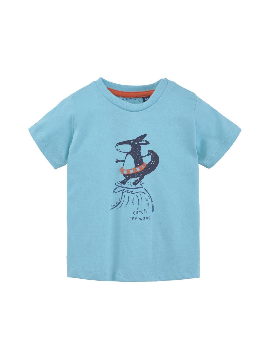 T-shirt placed print, tanager turqoise-cyan