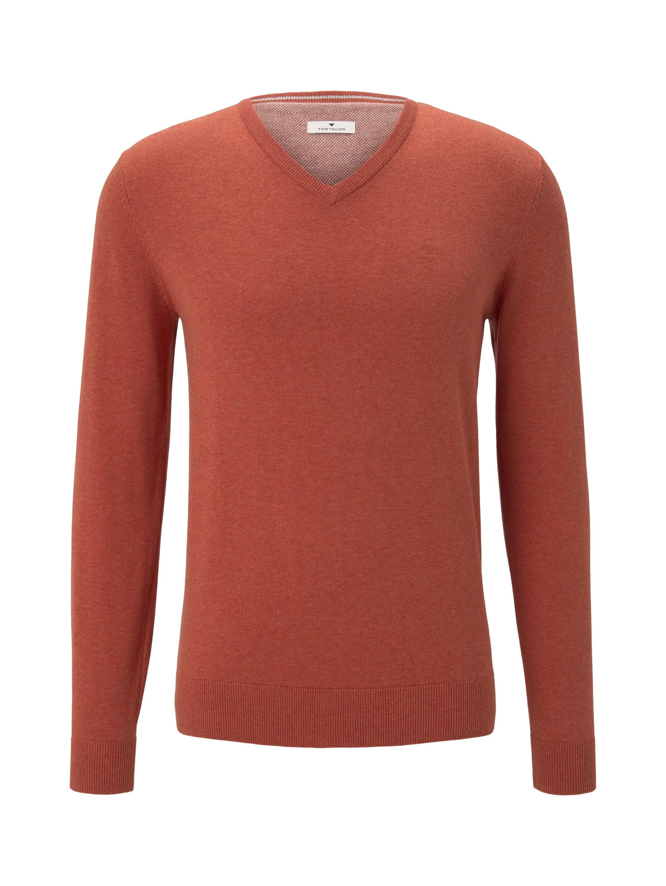 basic v neck sweater, heated orange melange