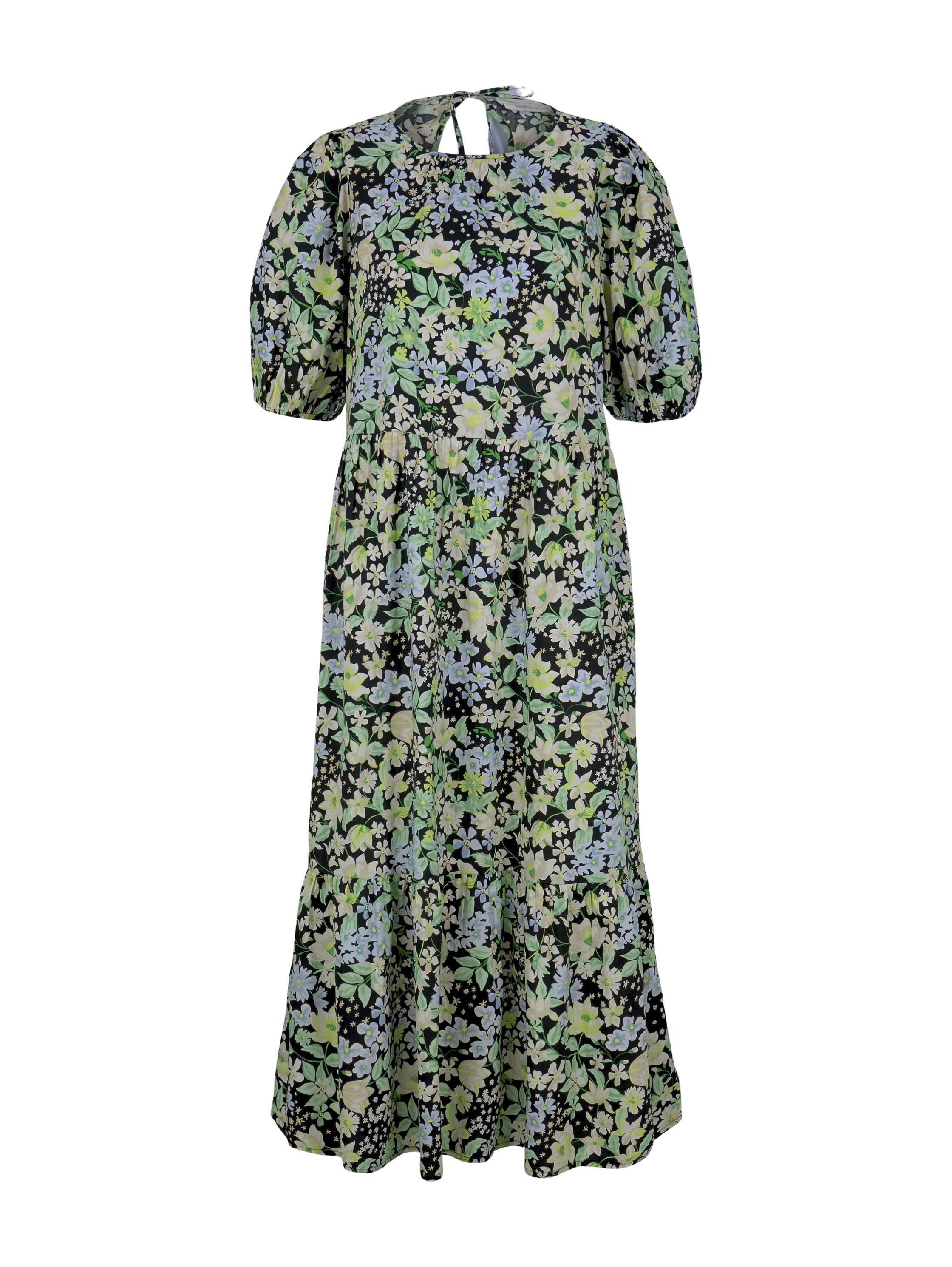 balloon sleeve cotton dress, flower print