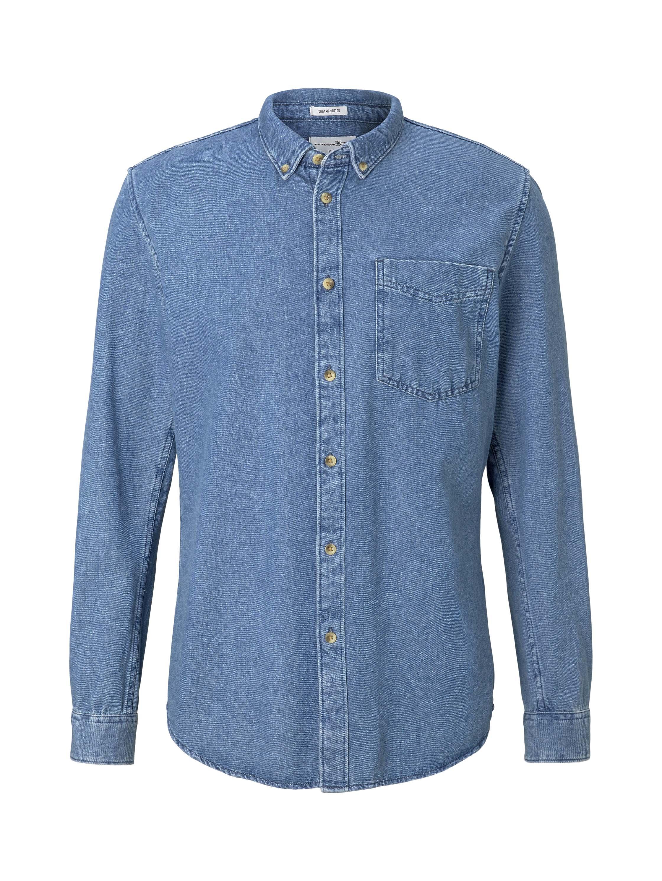 button down denim shirt, Blue Denim