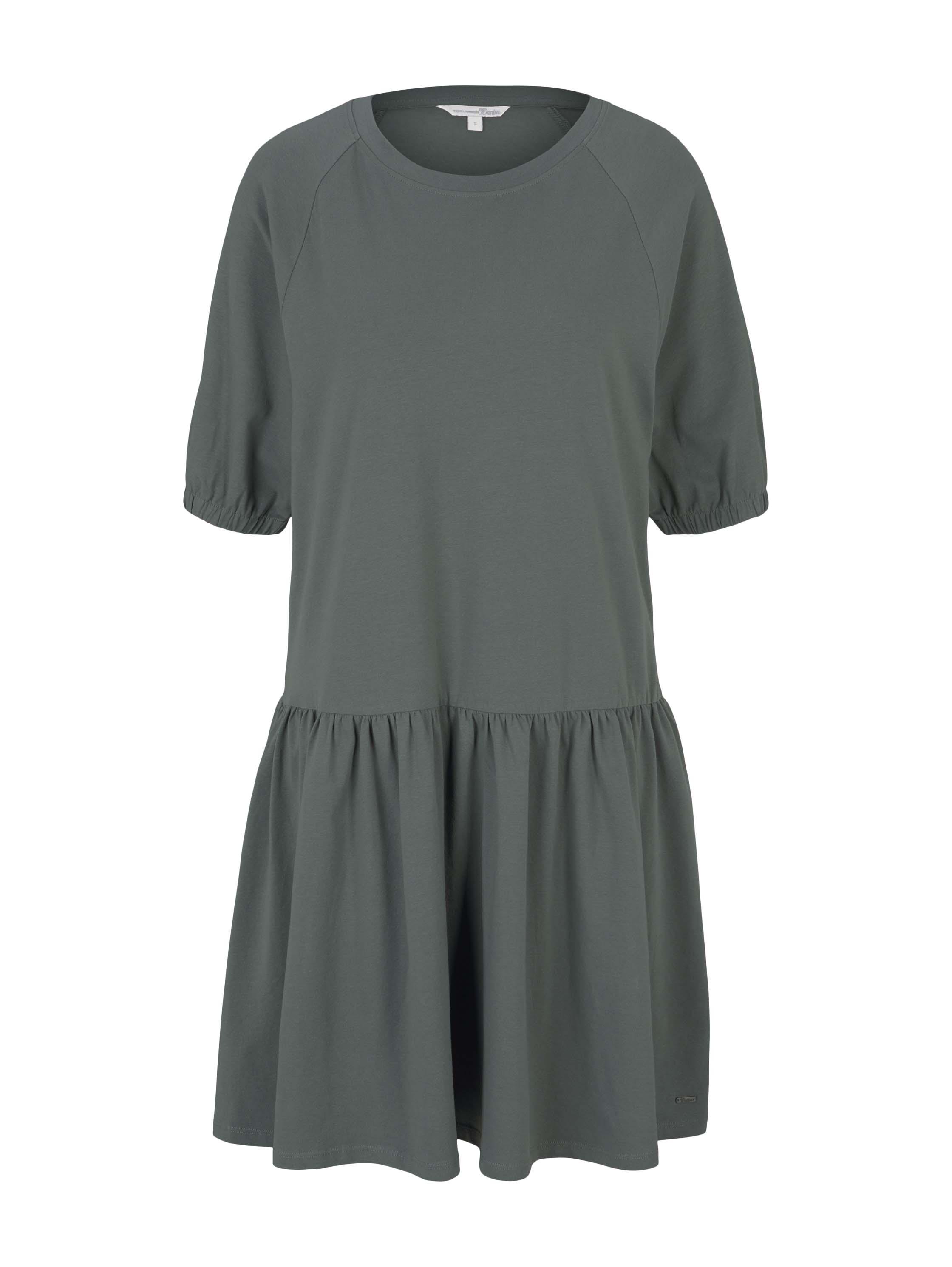balloon sleeve jersey dress, dusty pine green