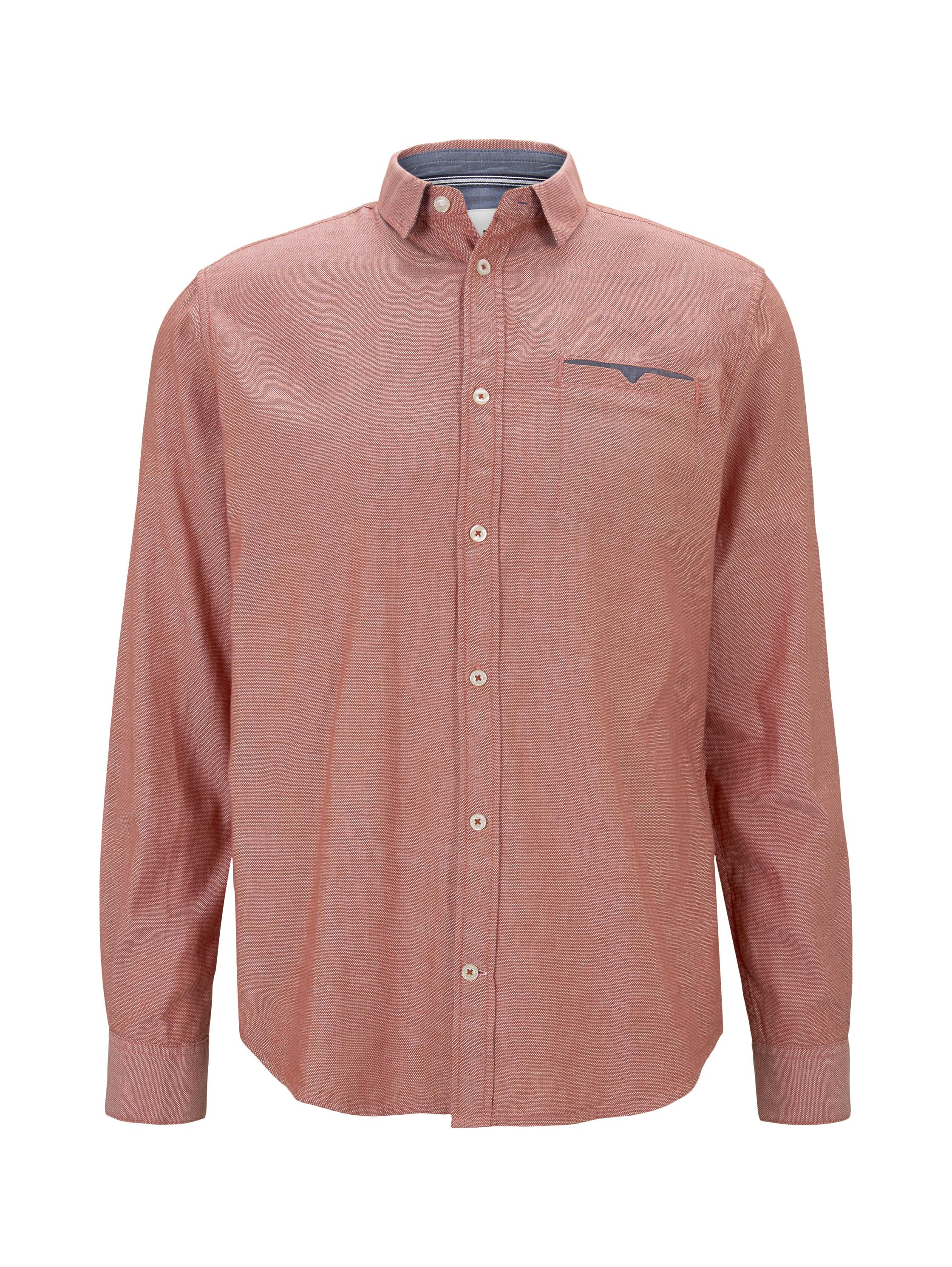 regular deco shirt with rollup, orange white structure