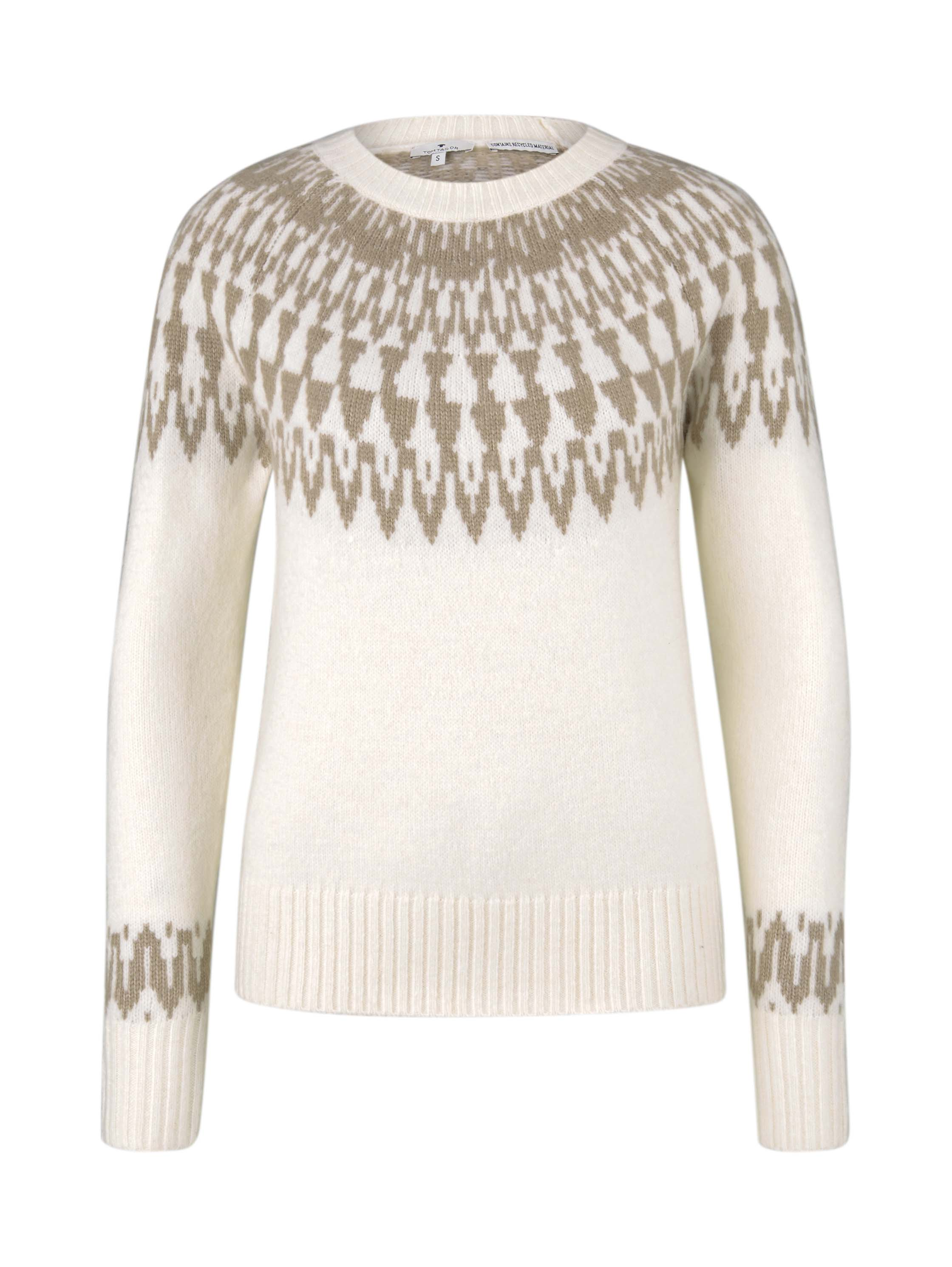 cozy fair isle pullover, soft powder beige