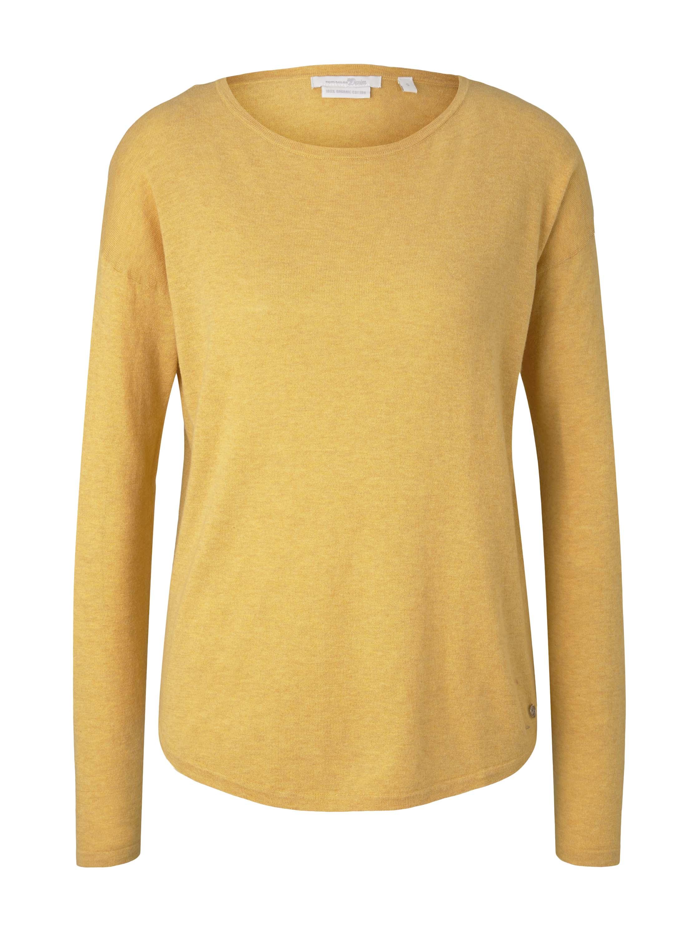 basic boat neck pullover, indian spice yellow melange