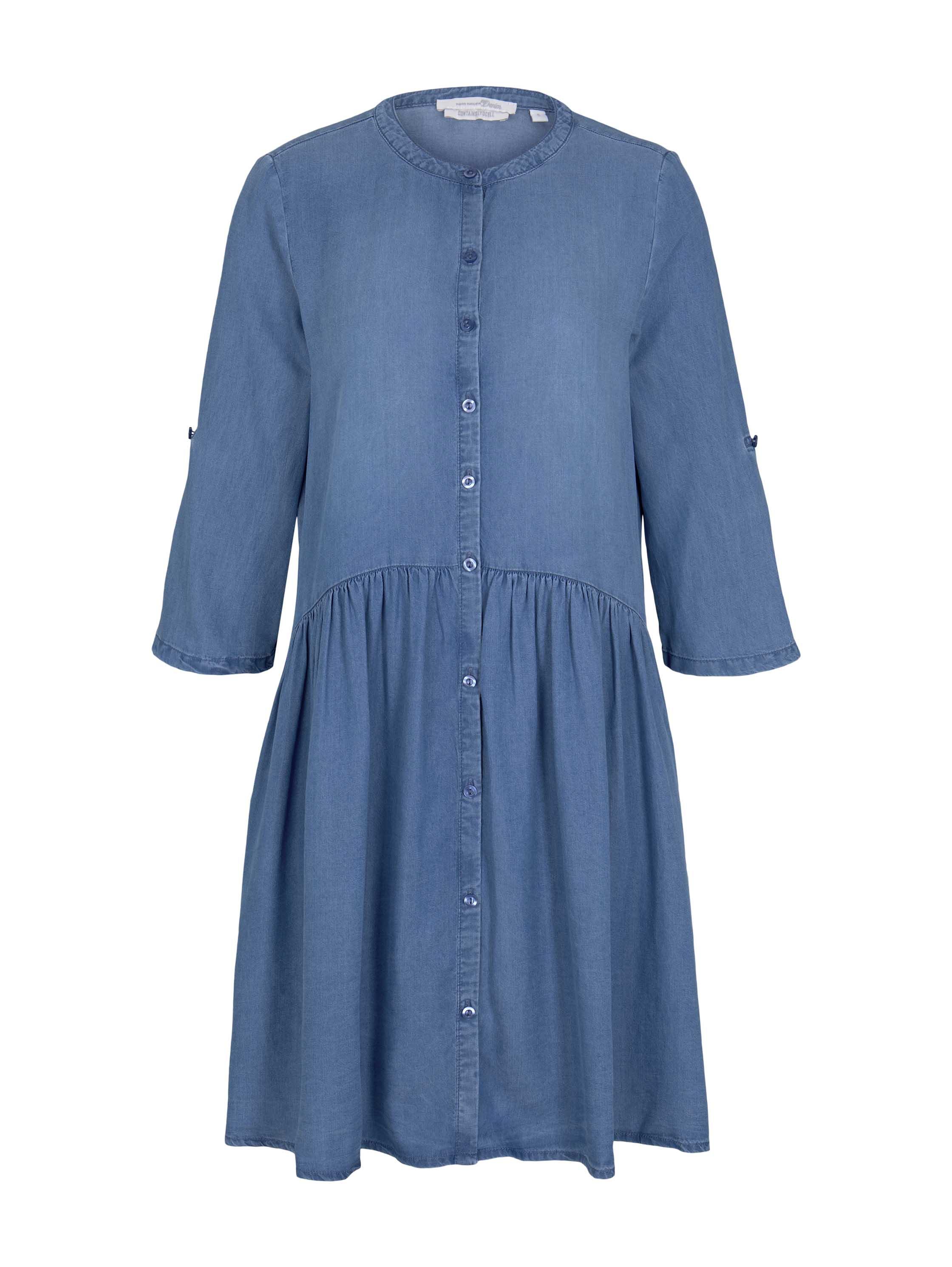 denim dress with placket, Blue Denim