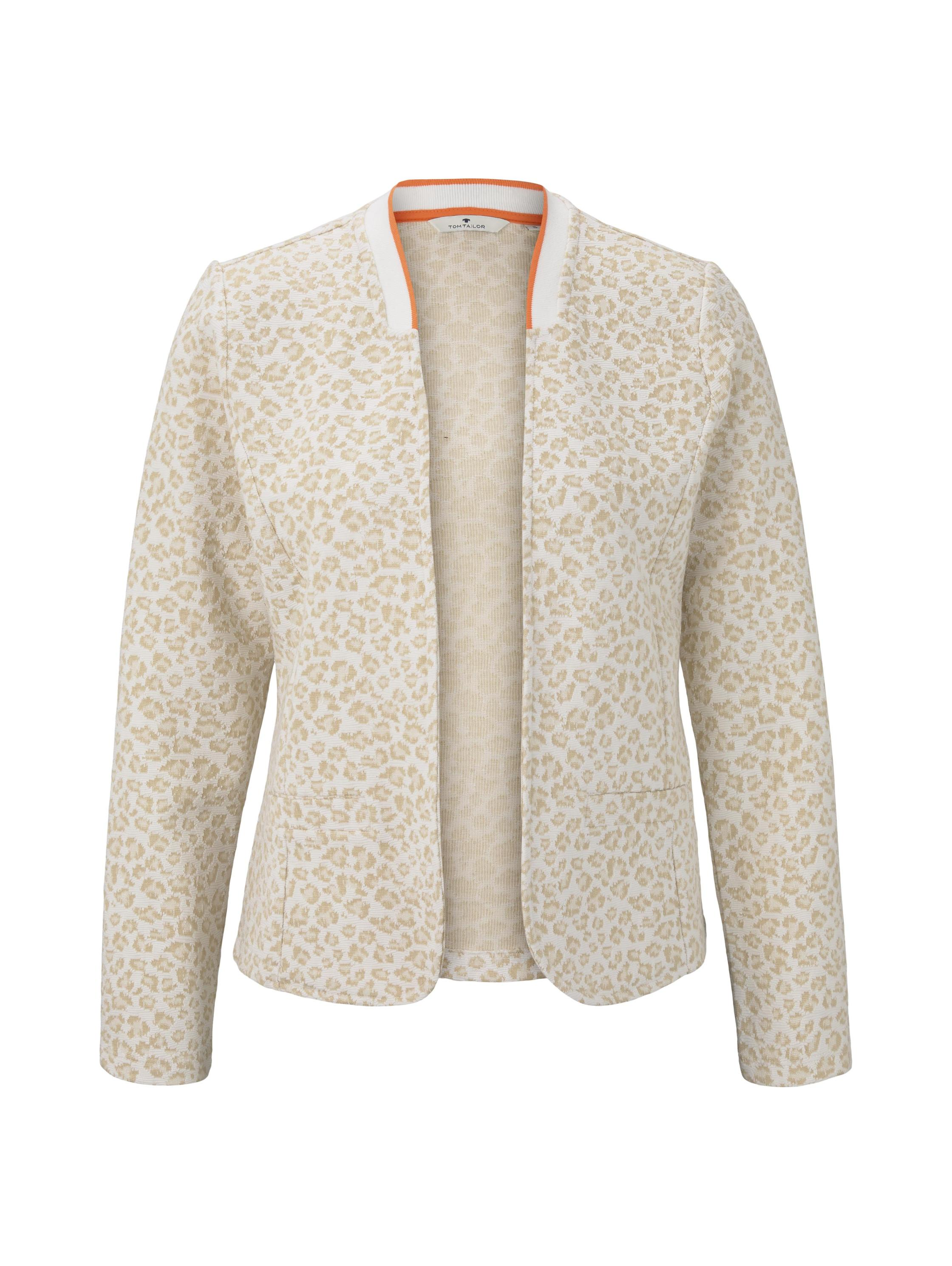 blazer jacket jacquard, beige leo jacquard