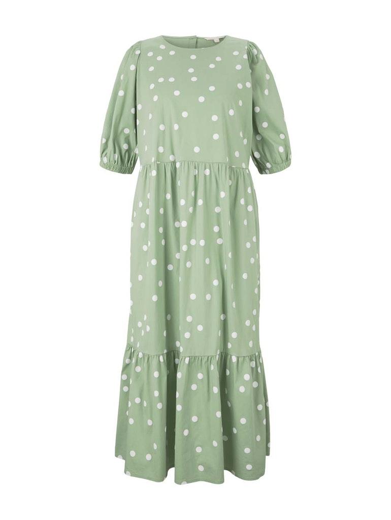 balloon sleeve midi dress, green dot print