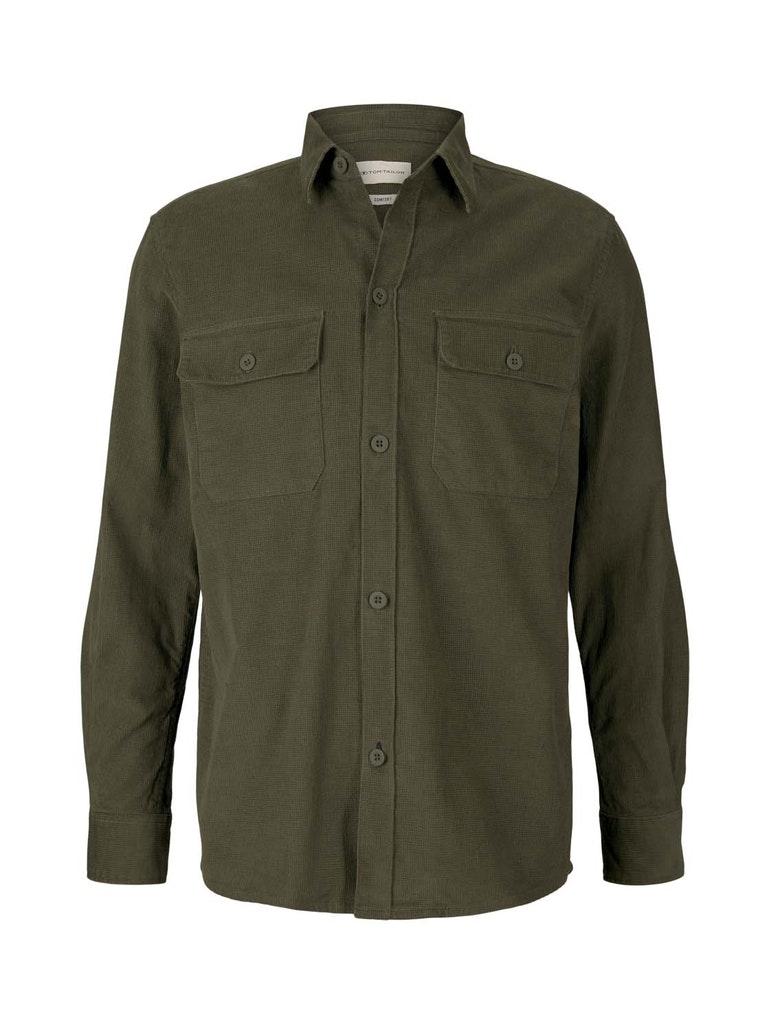 comfort waffle corduroy shirt, Oak Leaf Green