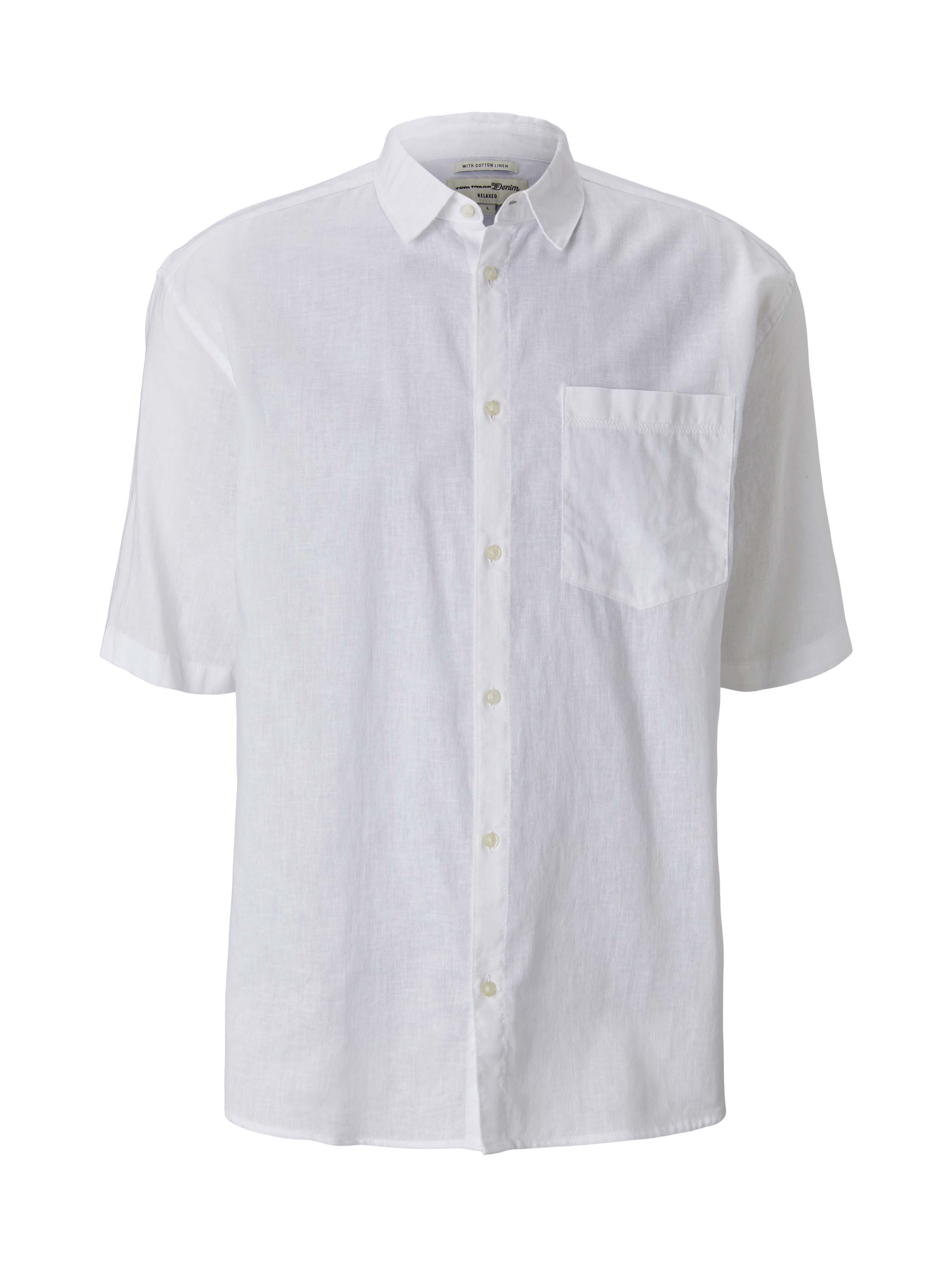 boxy linen short sleeve shirt, White