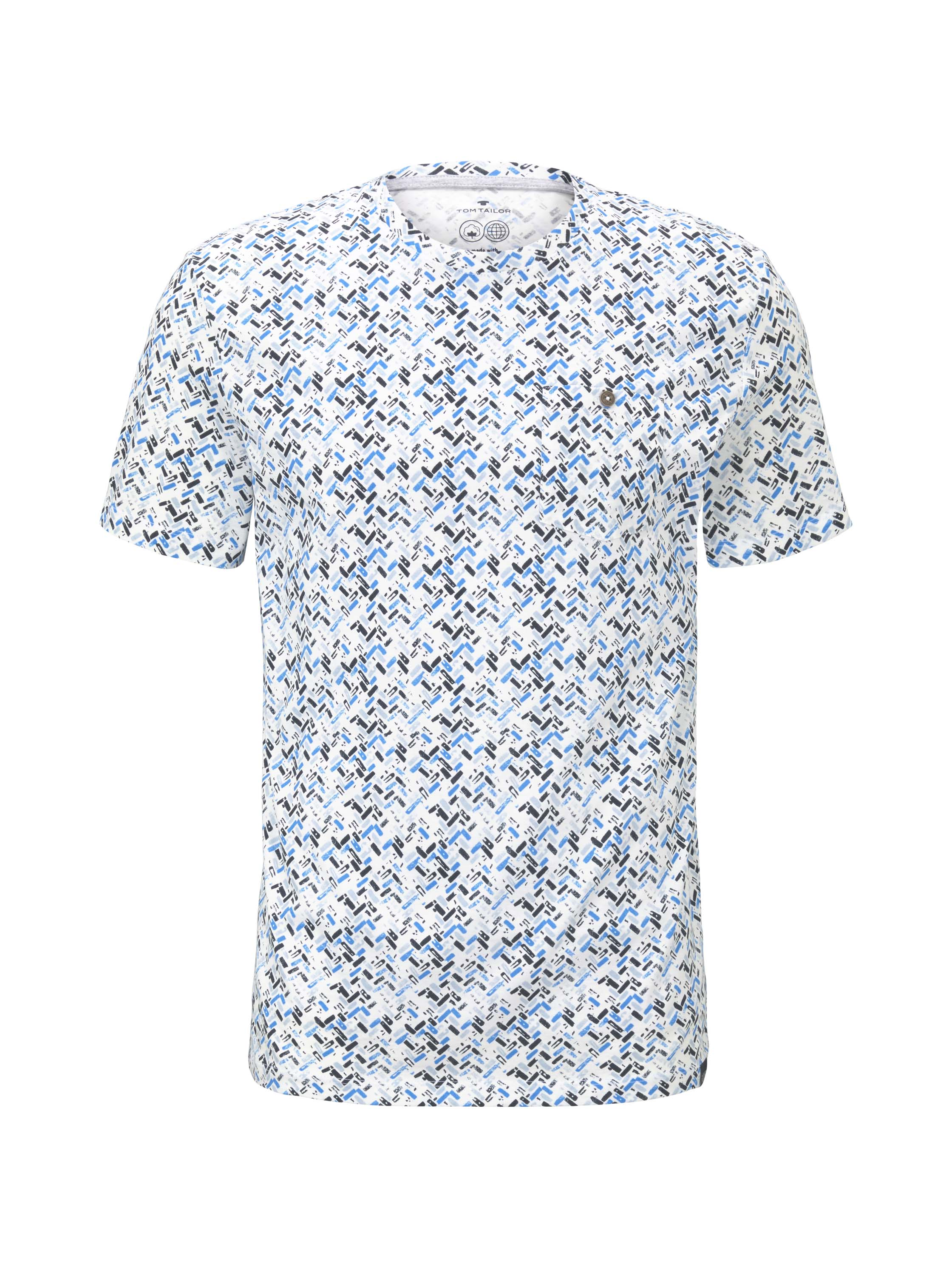 allover printed t-shirt, white base blue shades design