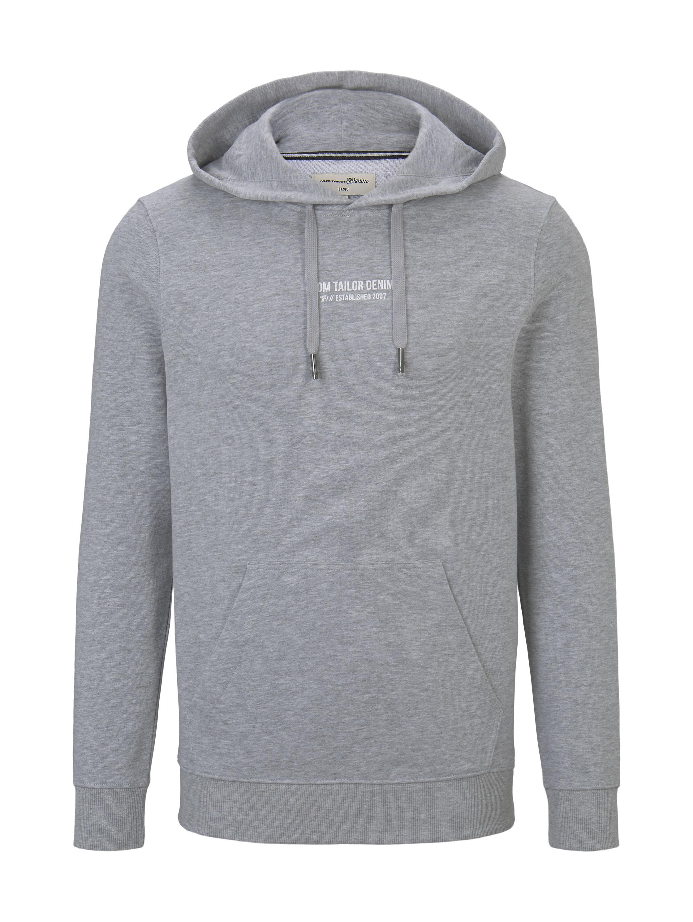 hoodie w. chestprint, Light Stone Grey Melange