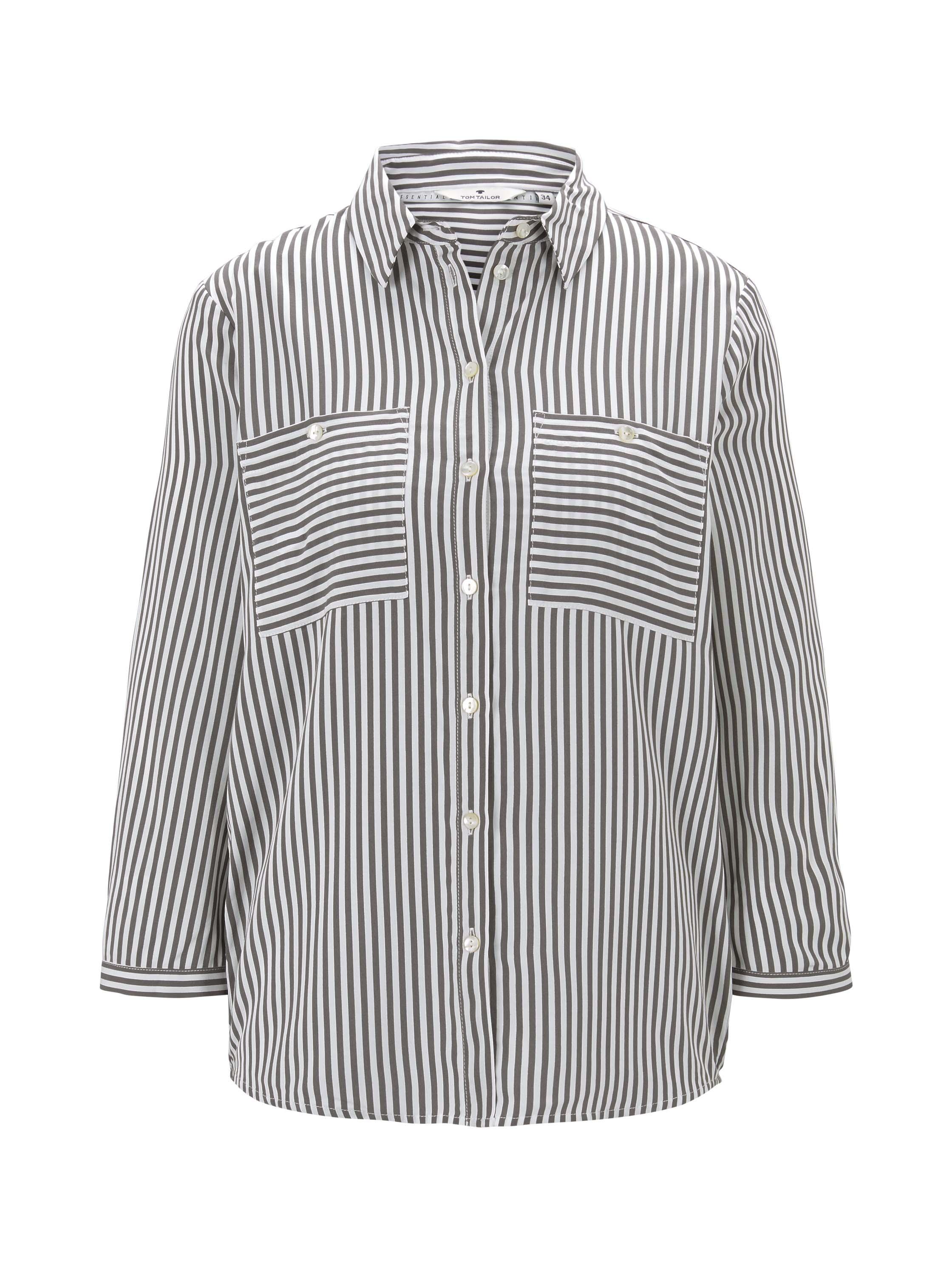 blouse printed stripe, grey vertical stripe