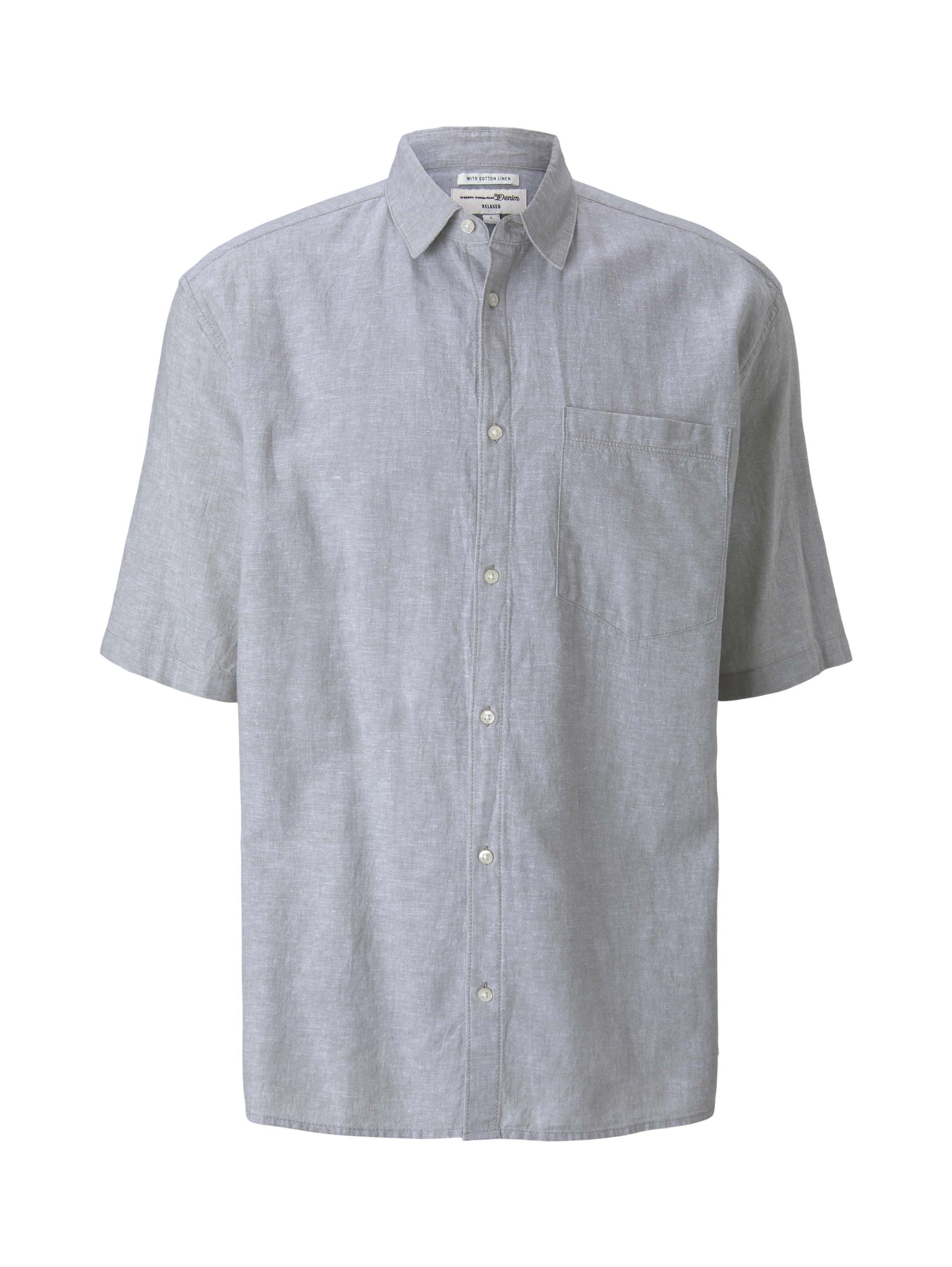boxy linen short sleeve shirt, olive white chambray