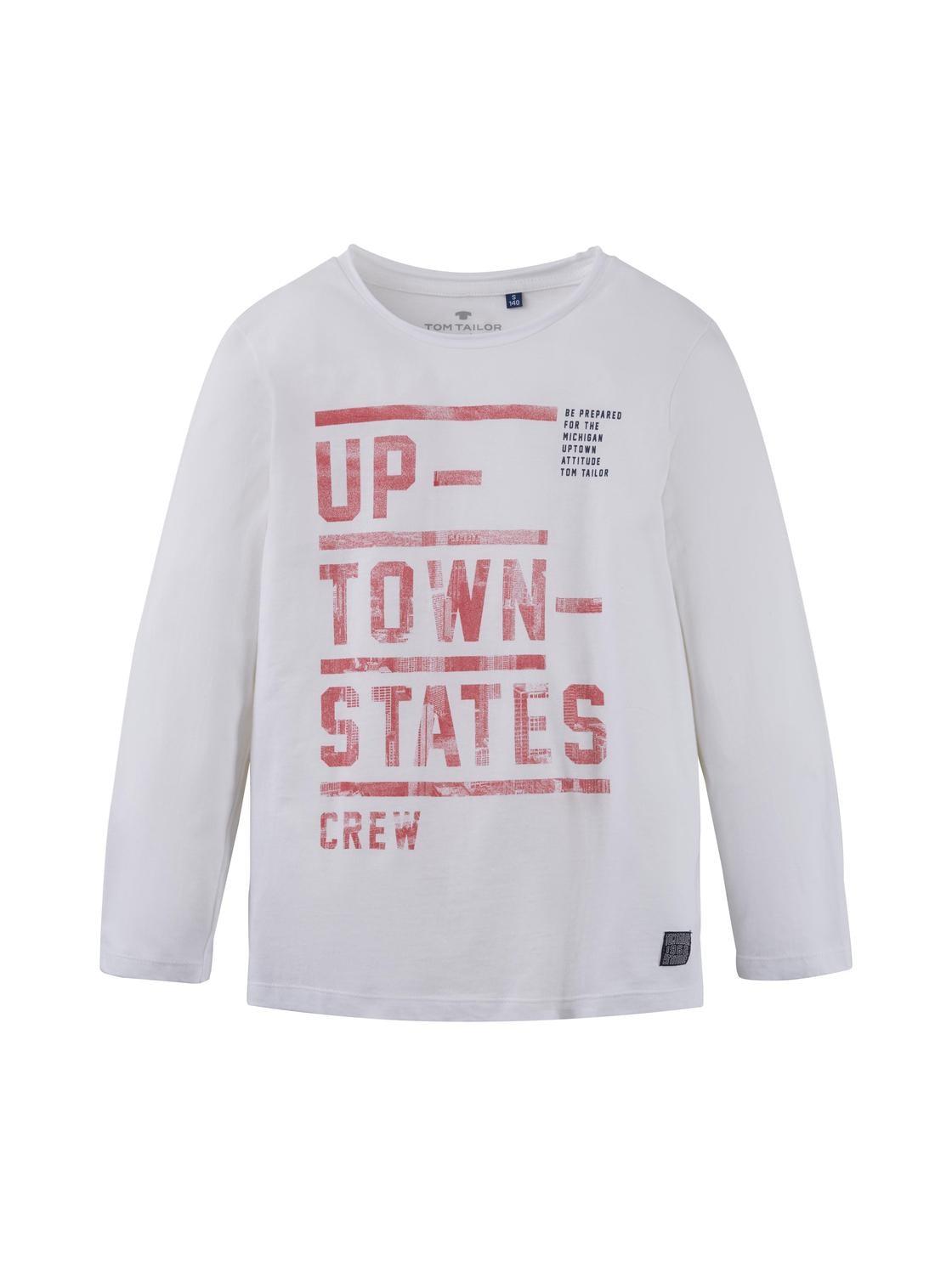 T-shirt placed print, bright white-white