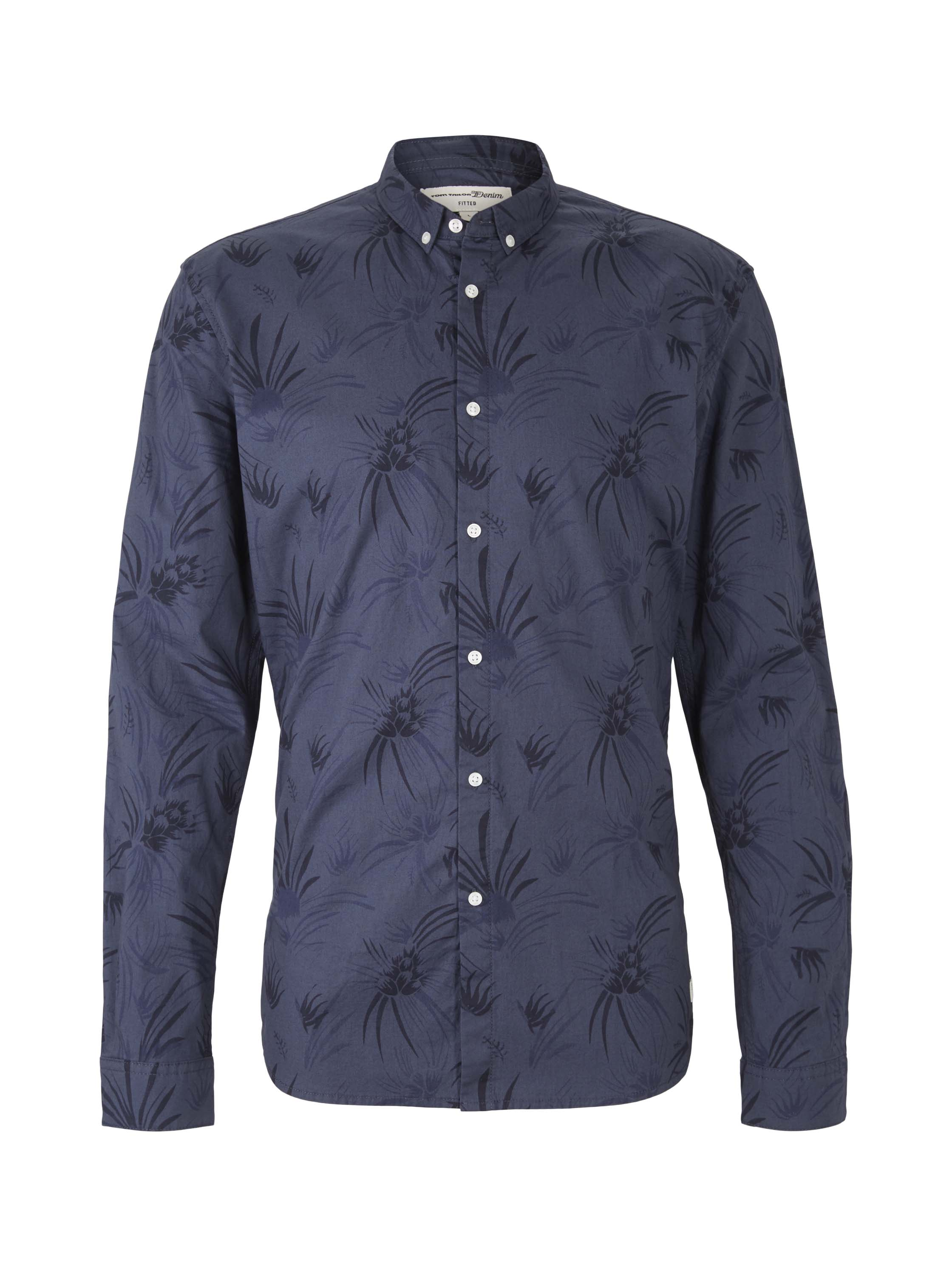AOP shirt, navy blue thistle print