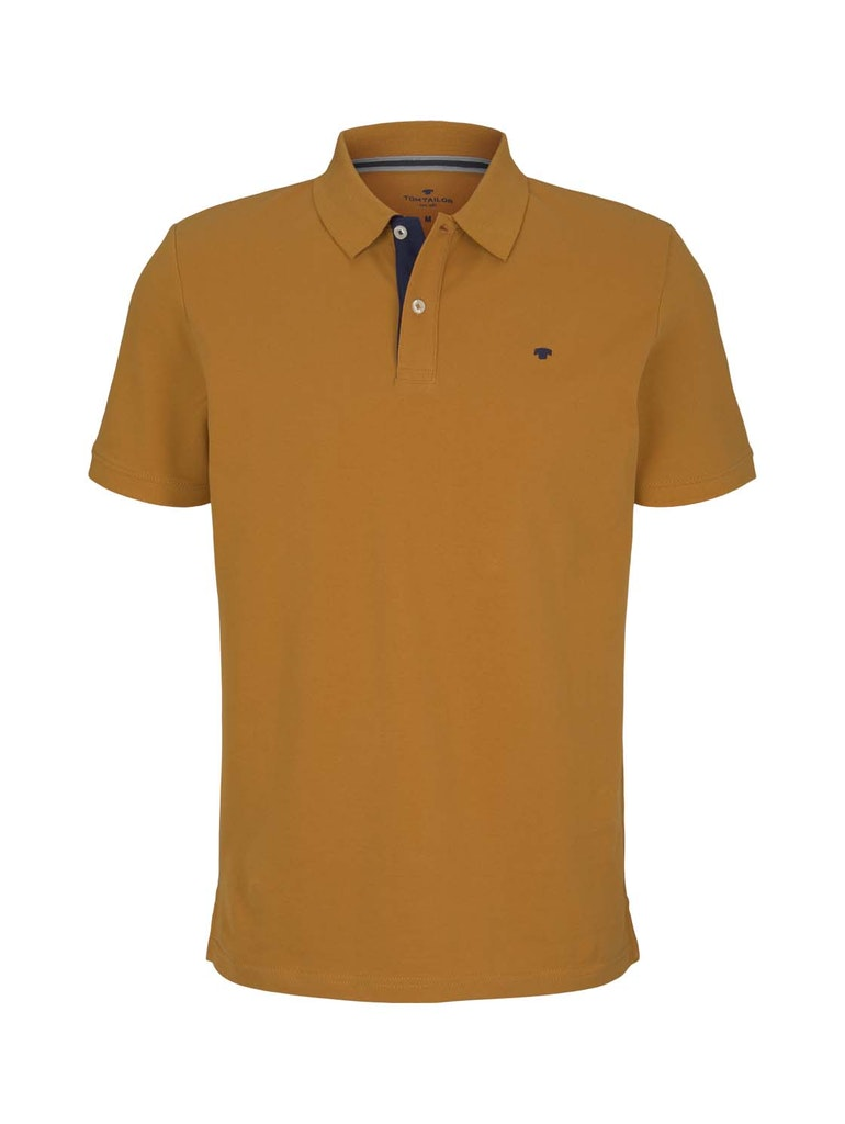basic polo with contrast, Flame Brown