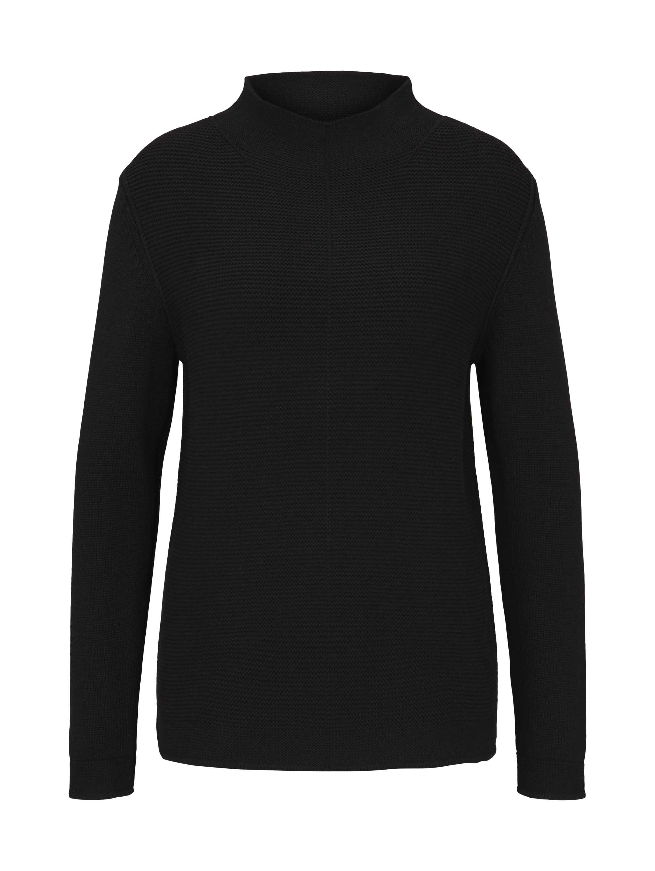 pullover cotton structure mix, Deep Black