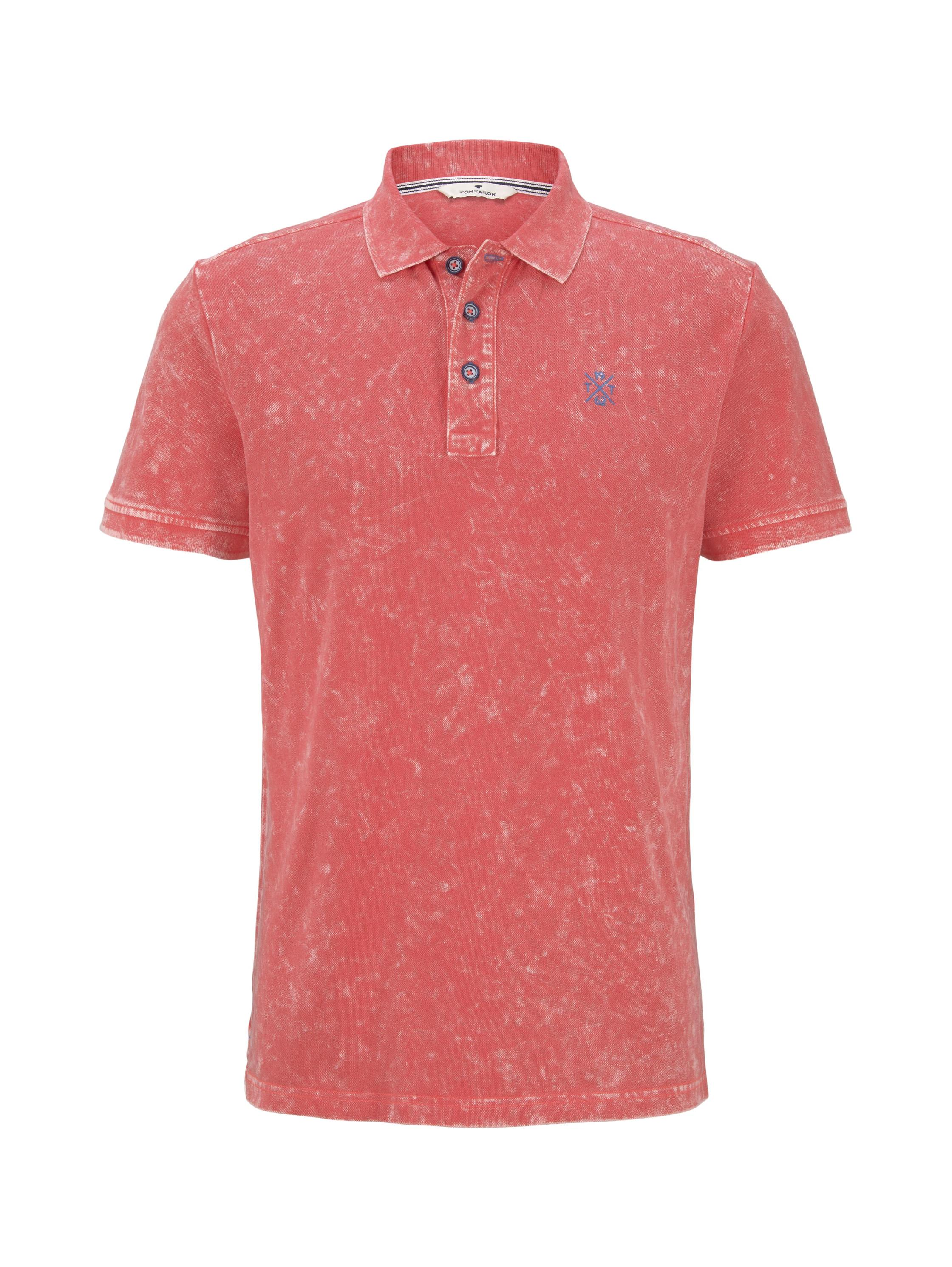 washed polo shirt, neon peach