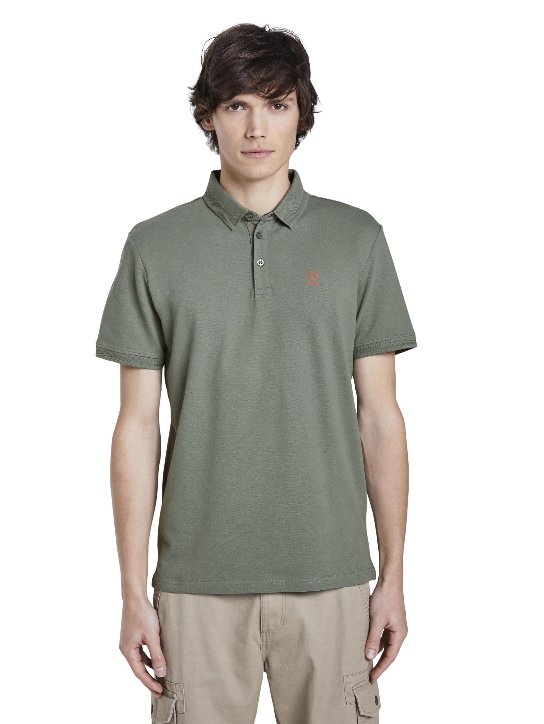 basic polo with details, Pale Bark Green