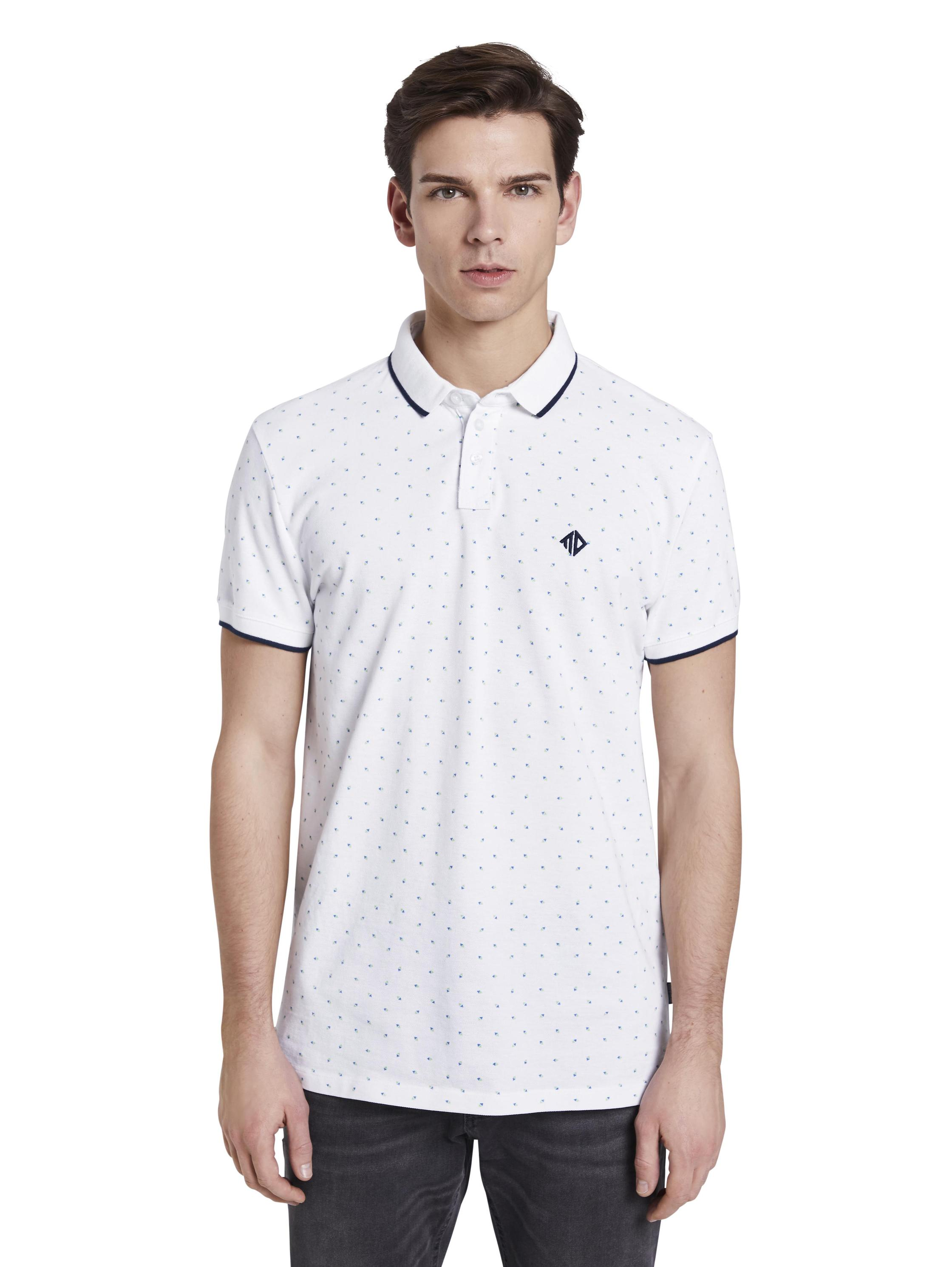 polo with all over print, white blue mint triangle print