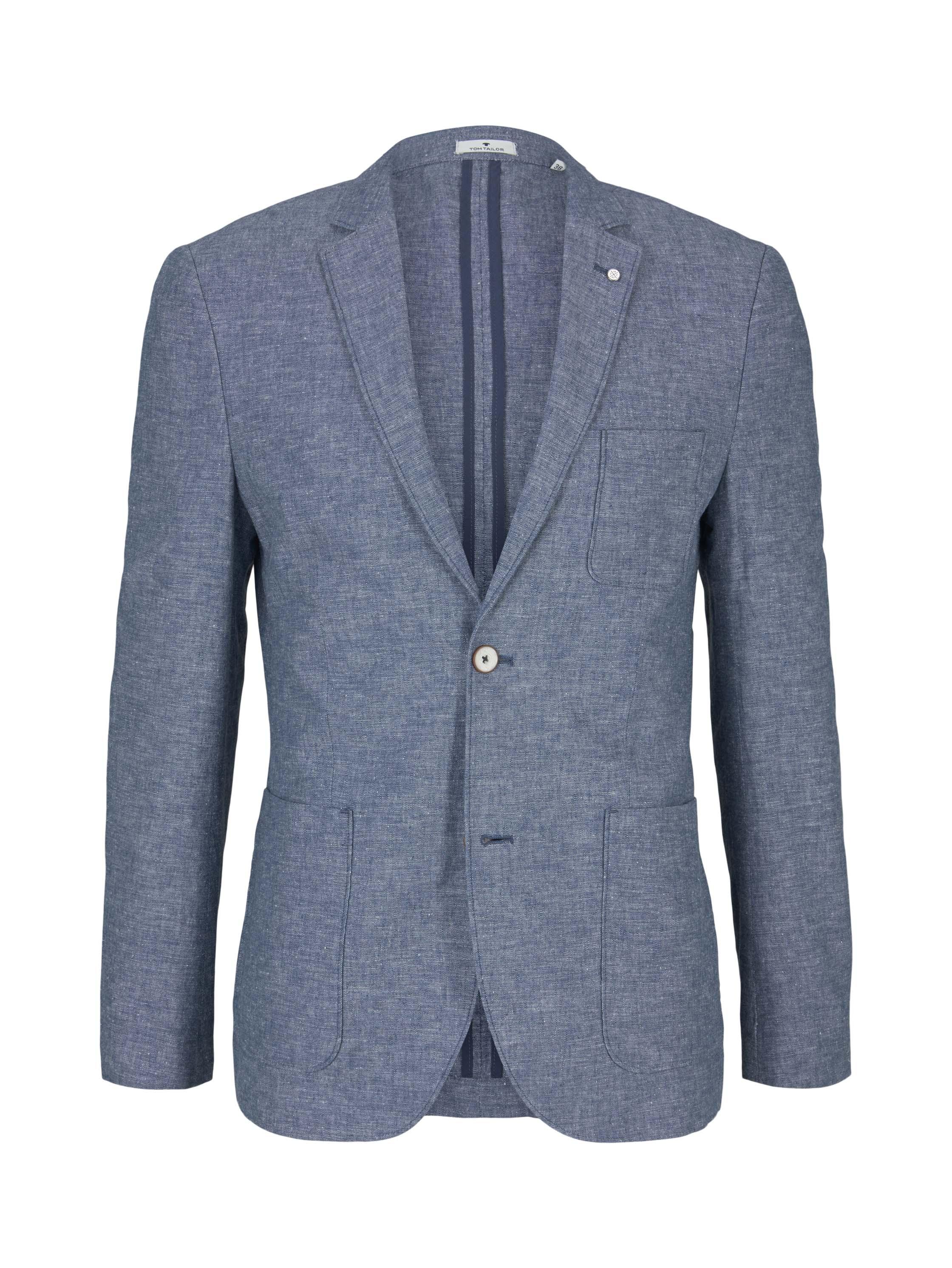 linnen mix blazer, woven blue melange