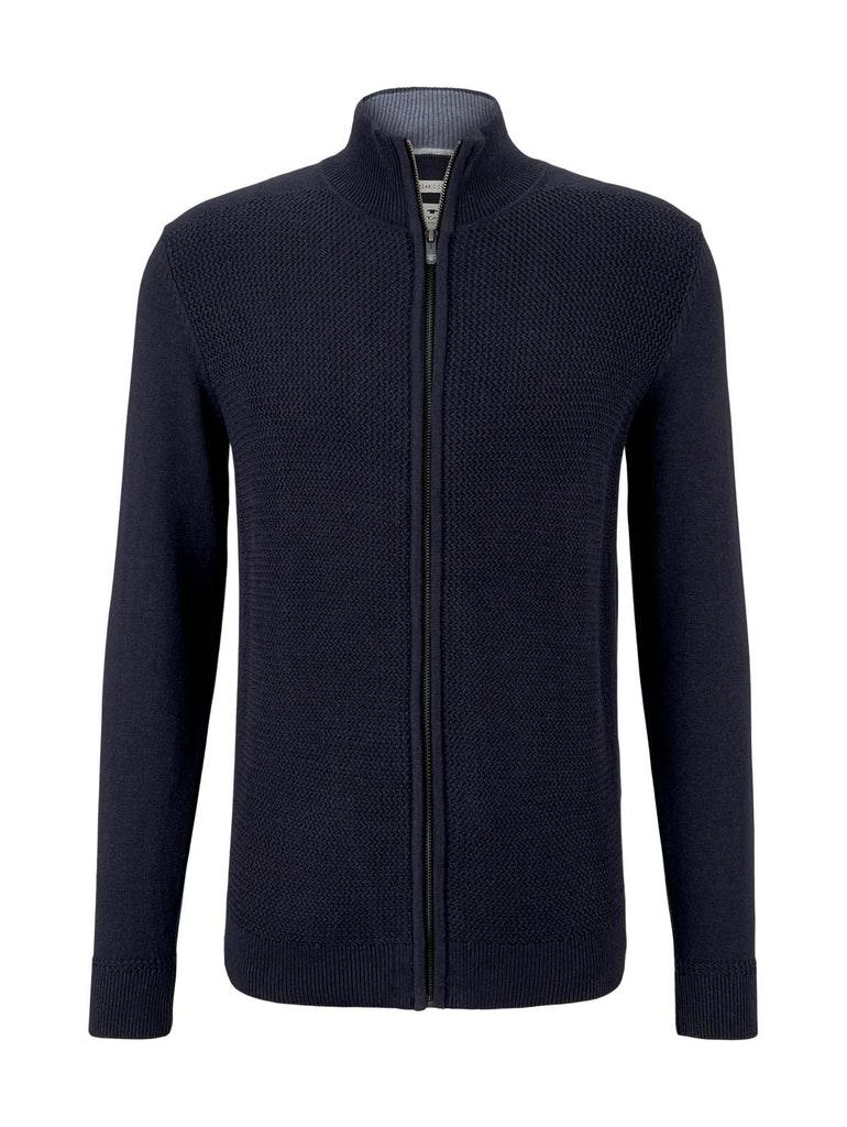 basic structure zip jacket, Knitted Navy Melange