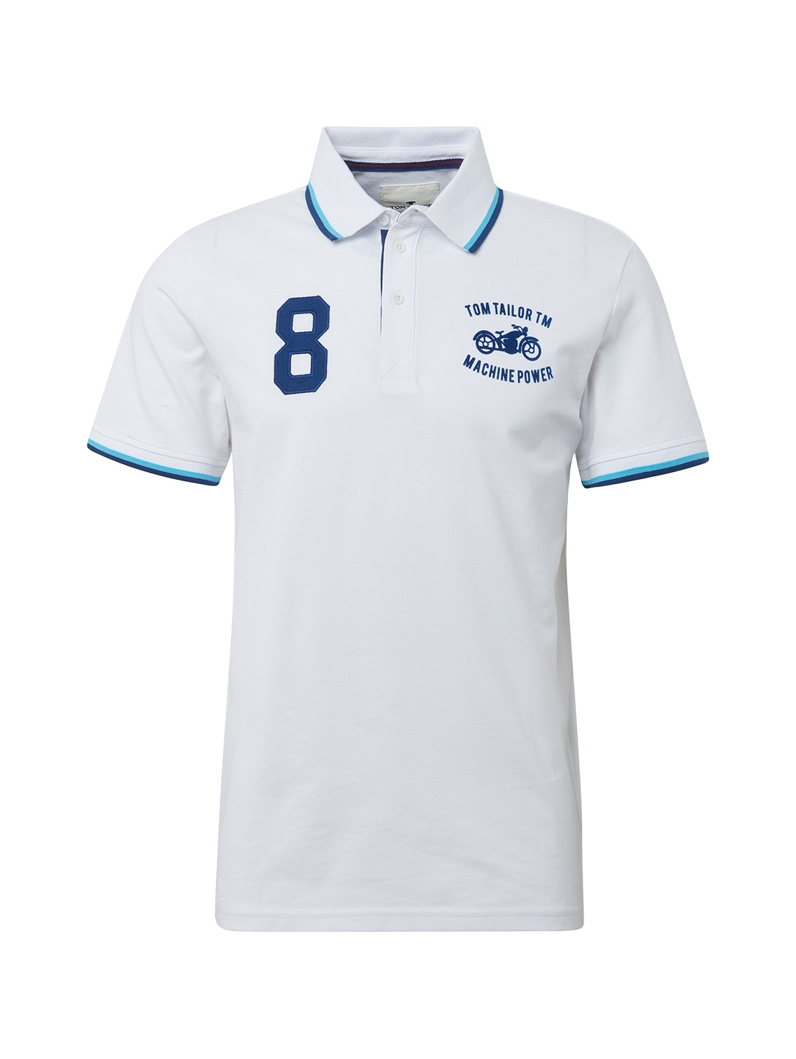 decorated polo with tippings, White                         White