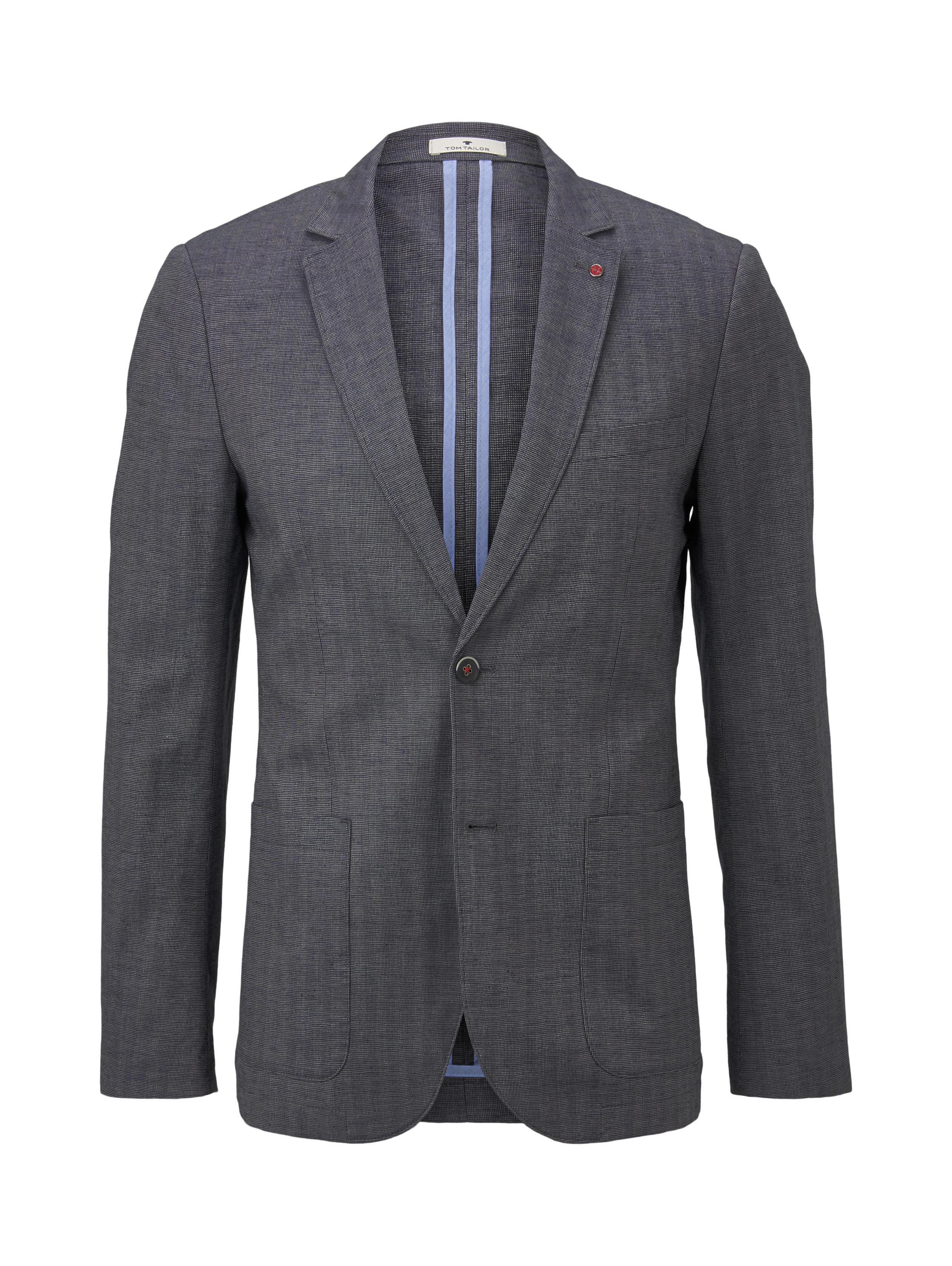 linnen mix blazer, blue linen structure