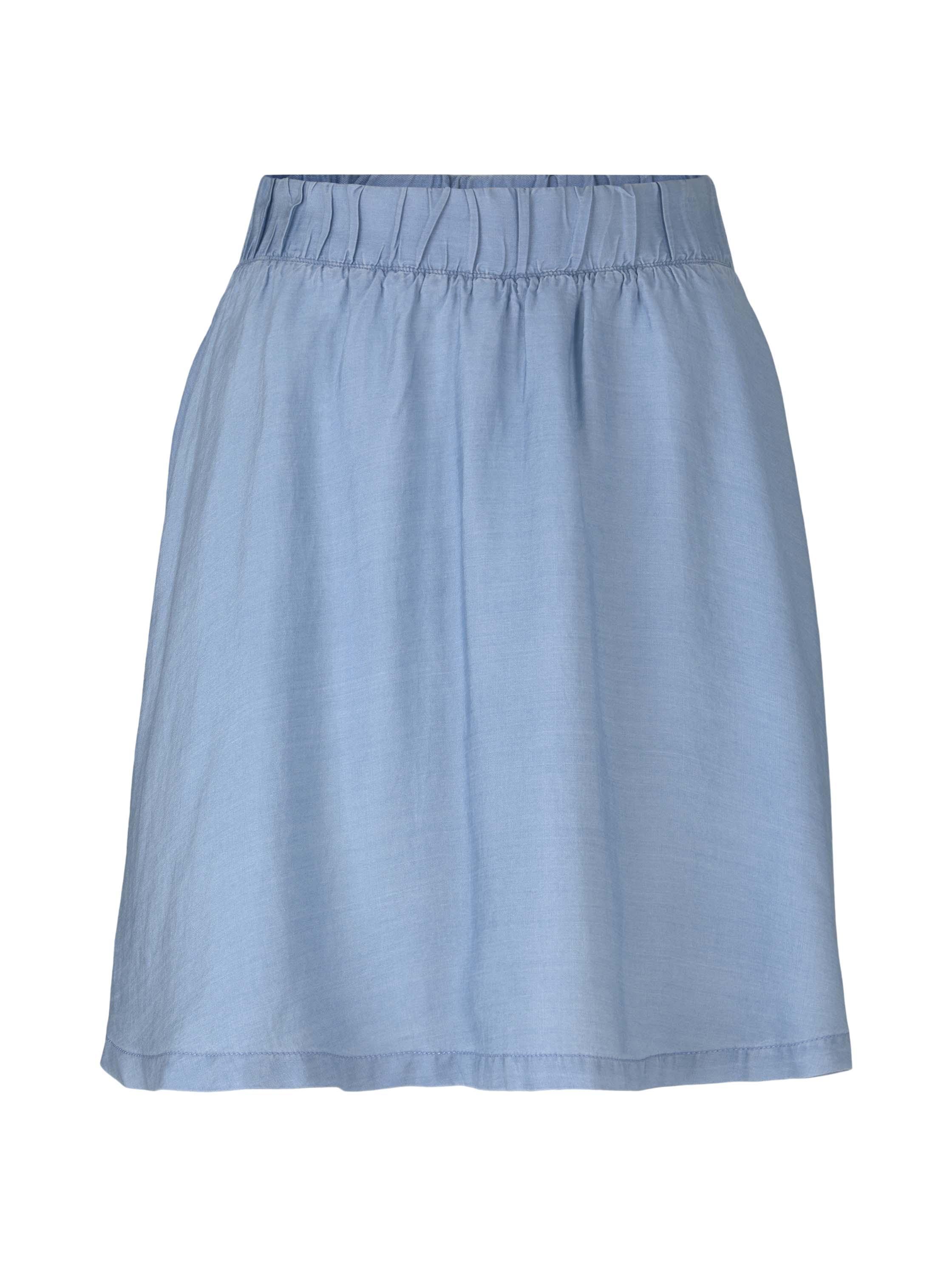 flared chambray skirt, light stone bright blue denim