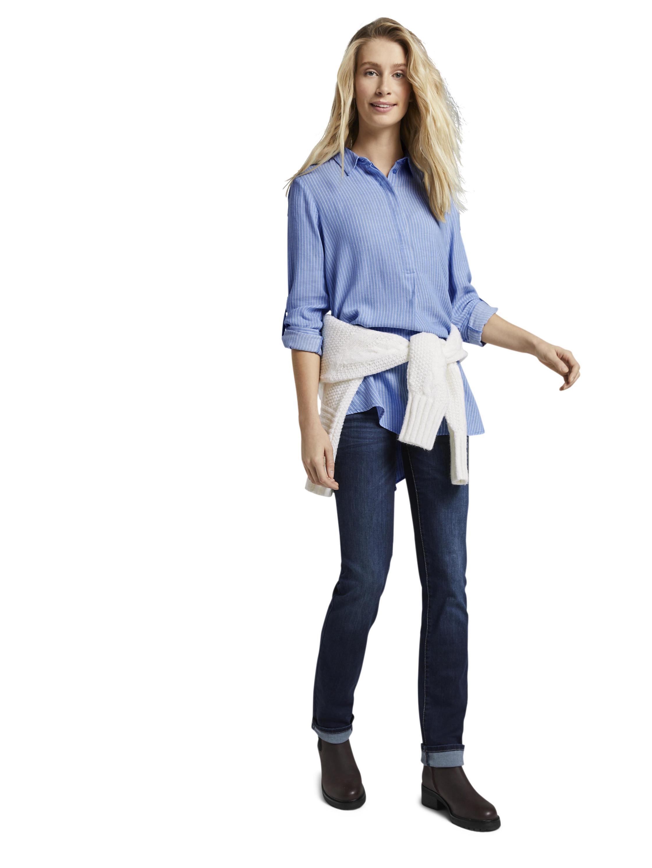 blouse longstyle, blue white vertical stripe