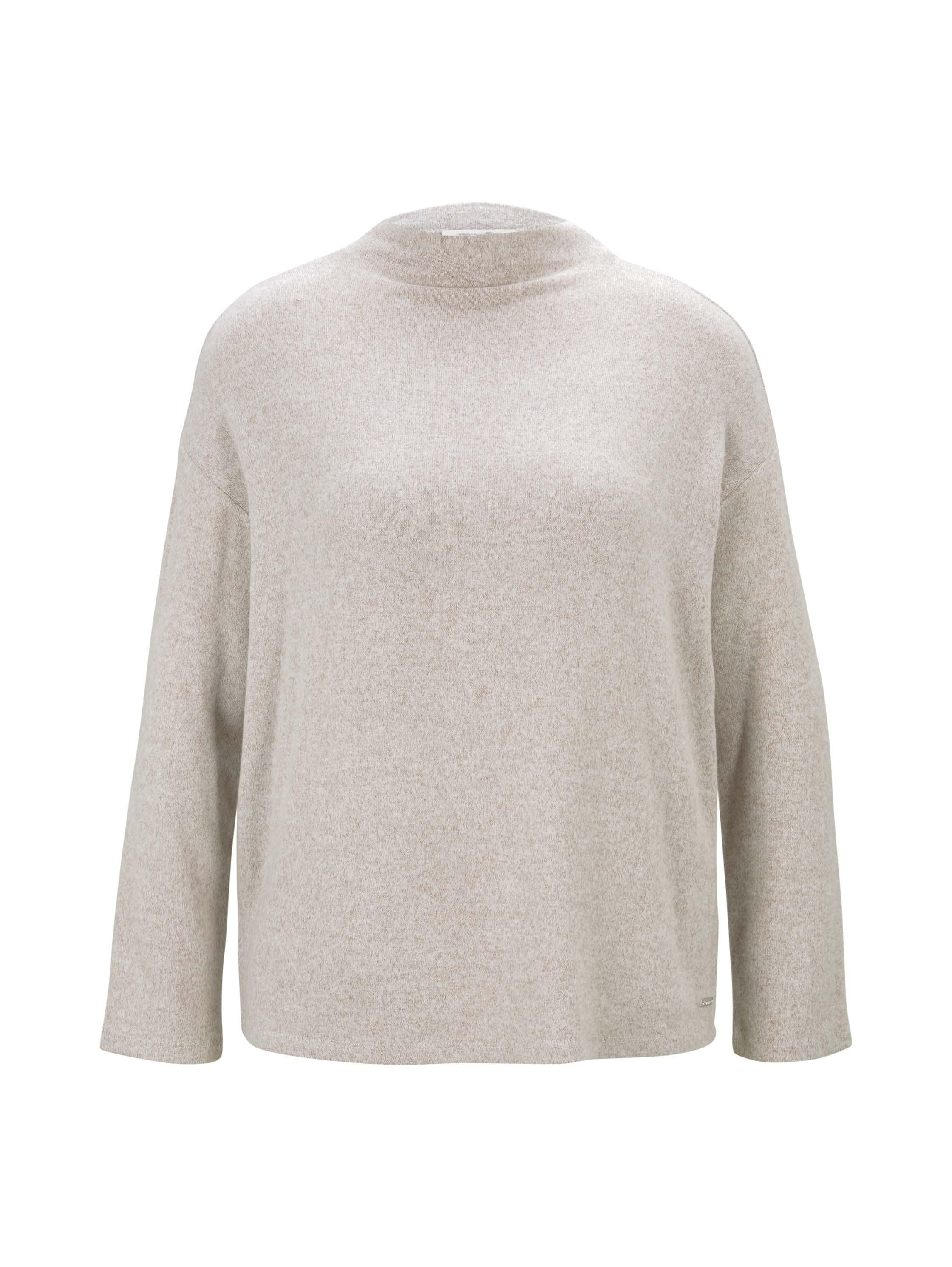 boxy sweater, cozy beige melange