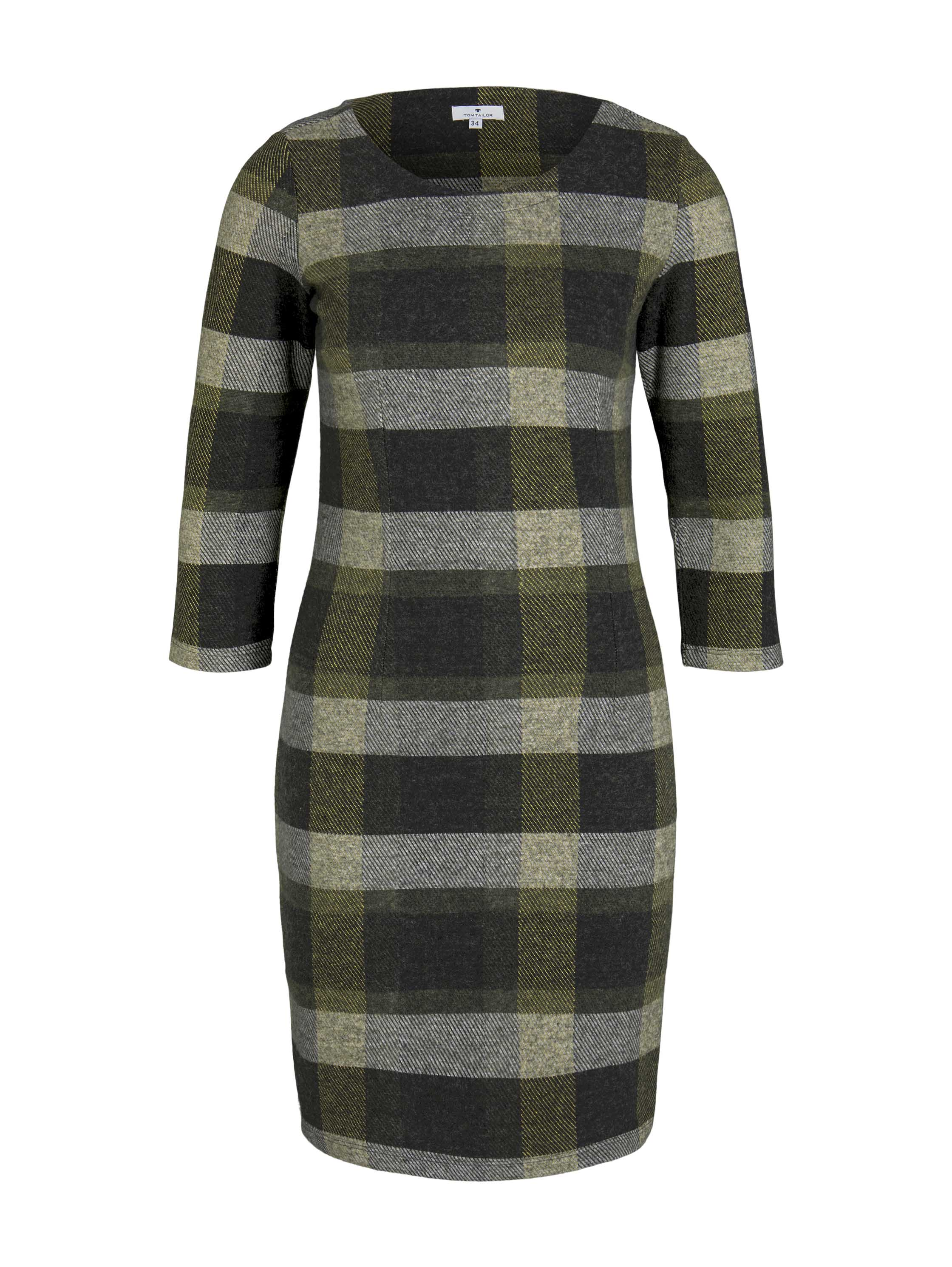 dress brushed jersey, black yellow check knitted