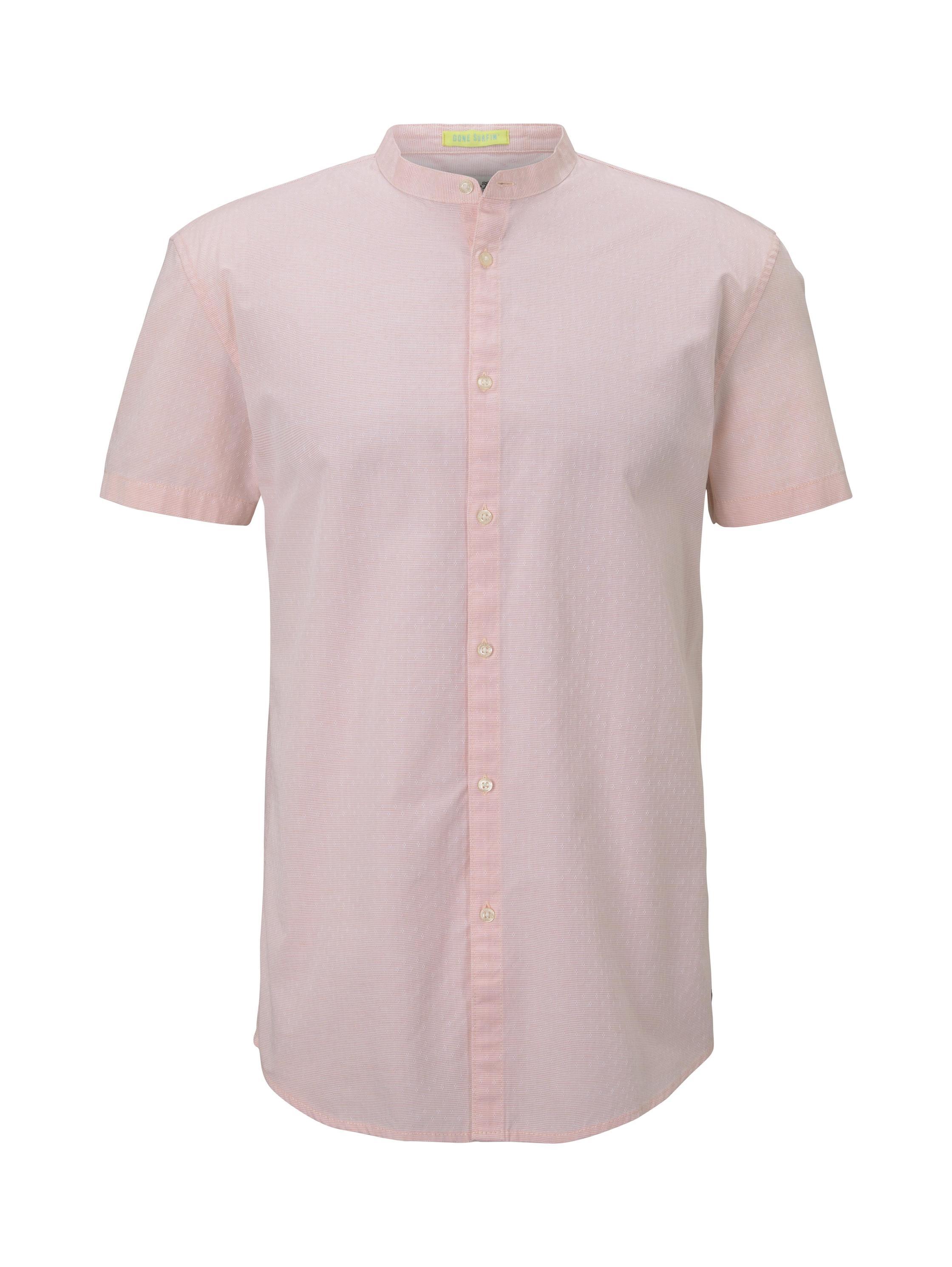 cotton jacquard shirt, orange dobby dot structure