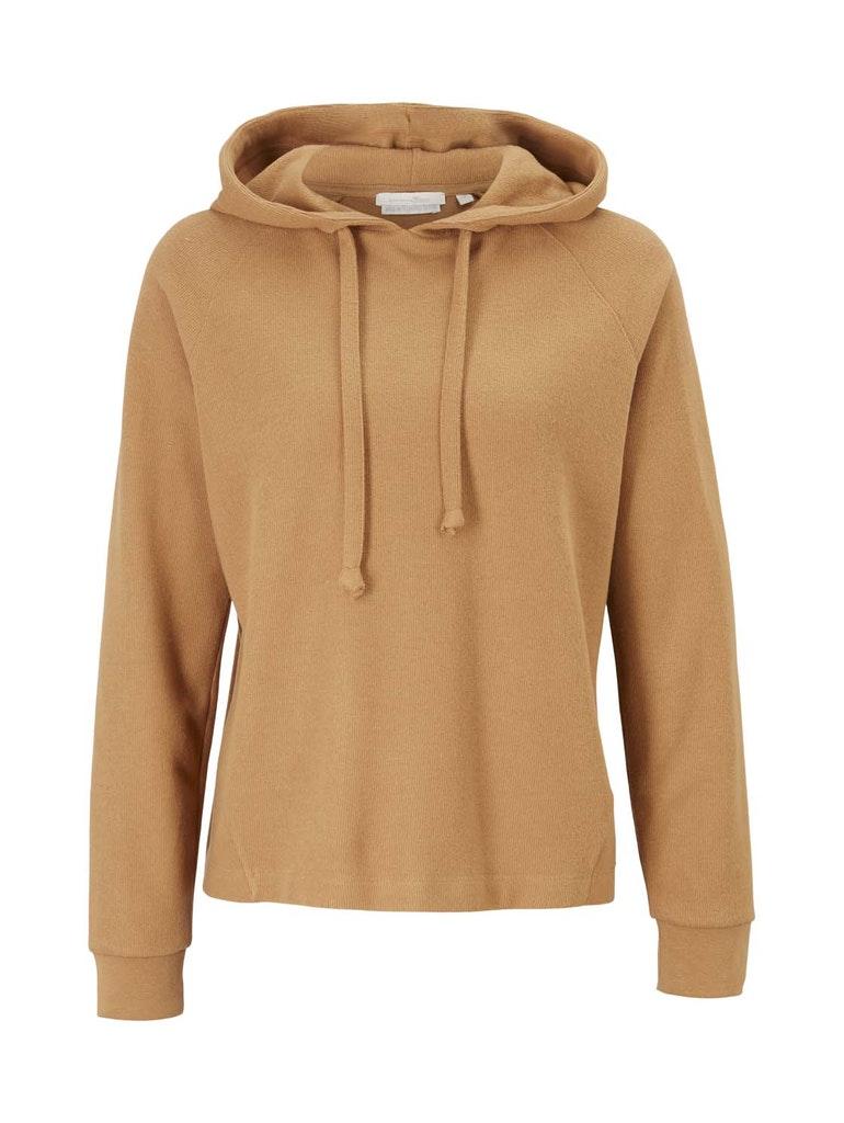 brushed rib hoodie, soft camel