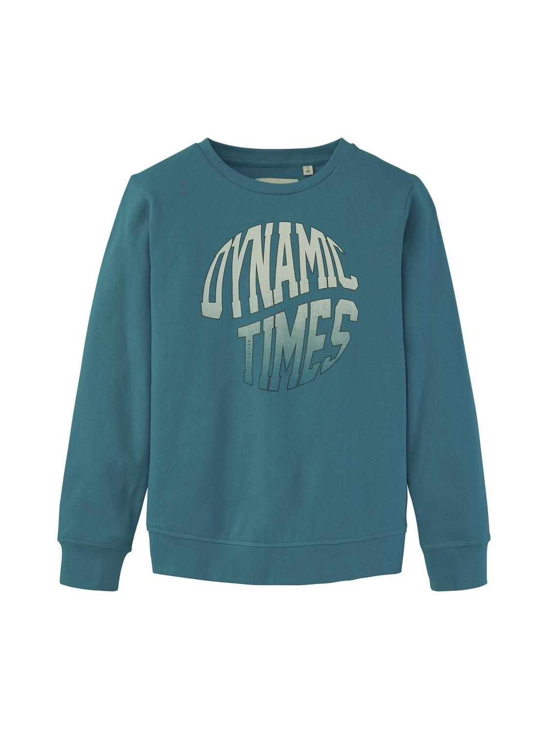 sweatshirt placed print, algiers blue-cyan