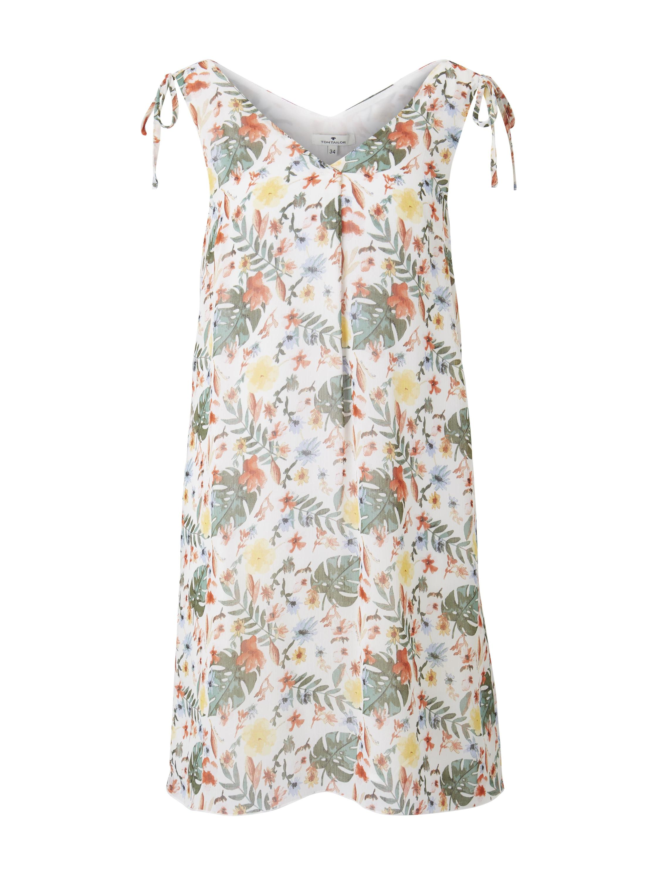 dress chiffon with ties, white watercolor flower design